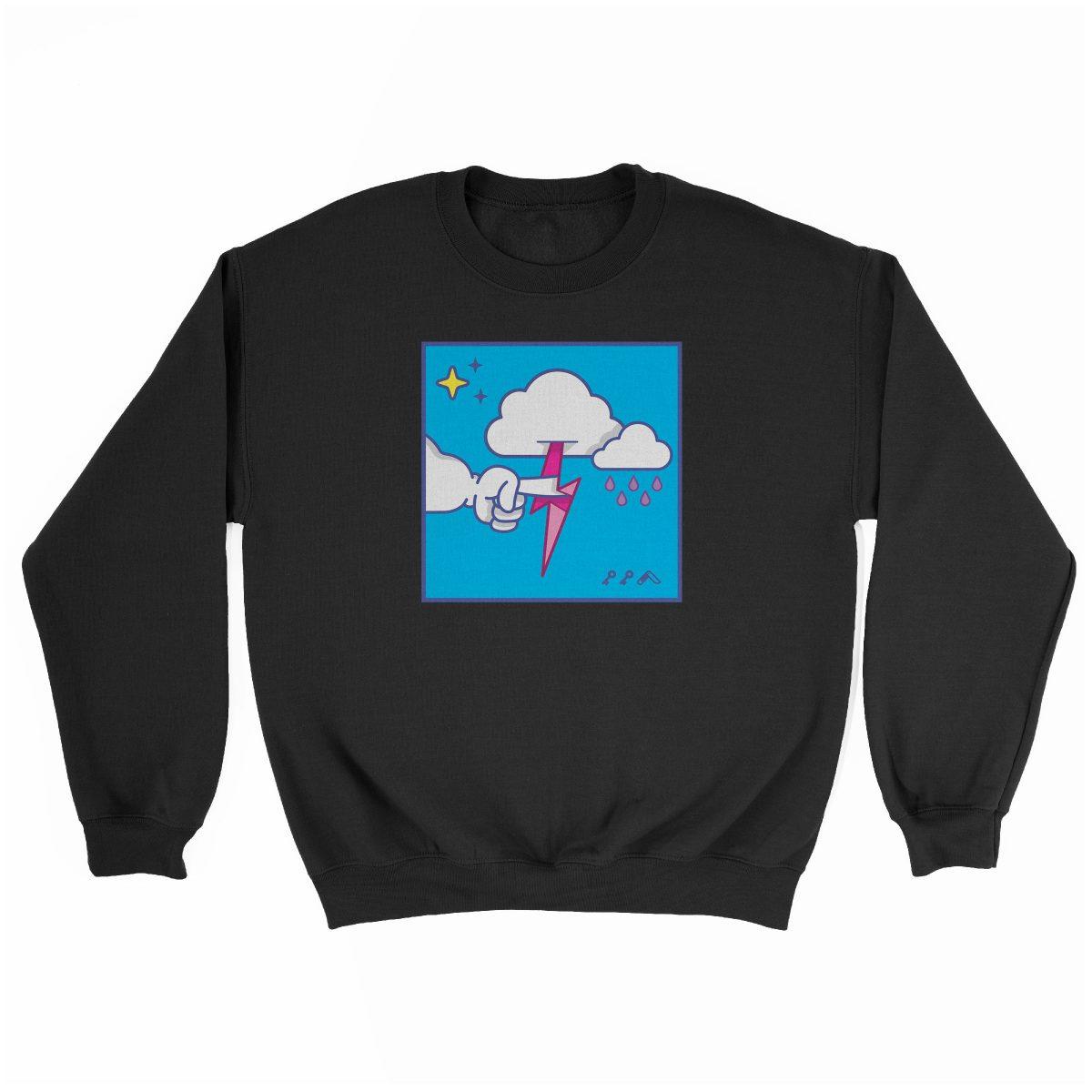 """MUTUAL CLOUDSENT"" funny adult cartoon animation style sweatshirt in black at kikicutt.com"