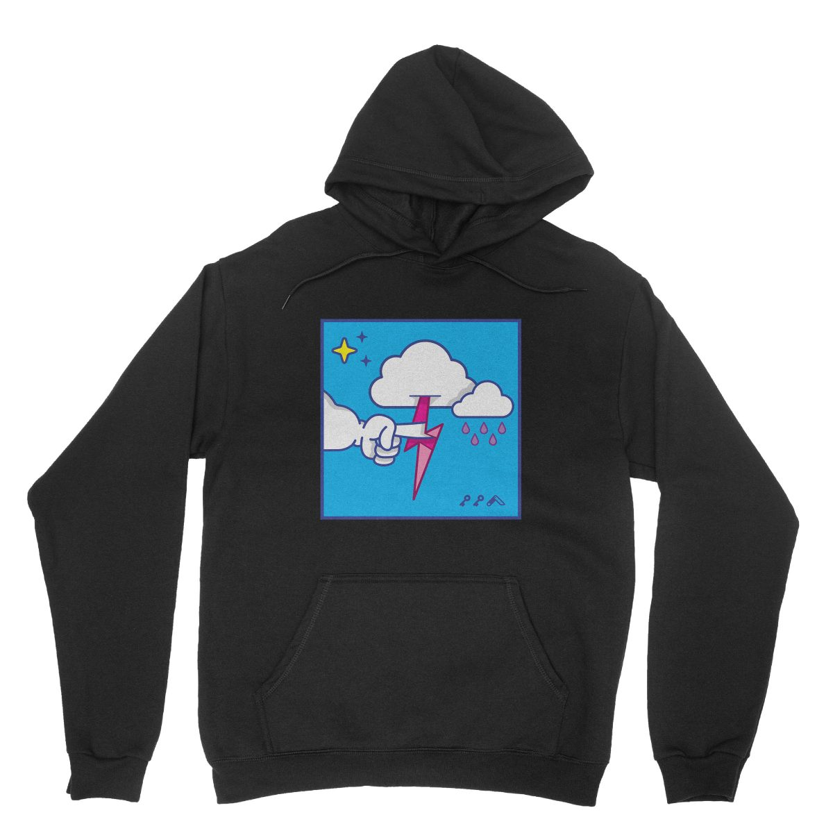 """""""MUTUAL CLOUDSENT"""" funny adult cartoon animation style hoodies in black at kikicutt.com"""