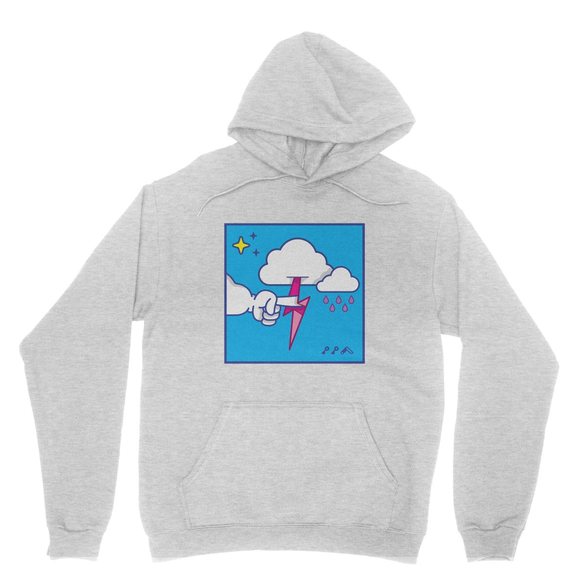 """""""MUTUAL CLOUDSENT"""" funny adult cartoon animation style hoodies in grey at kikicutt.com"""