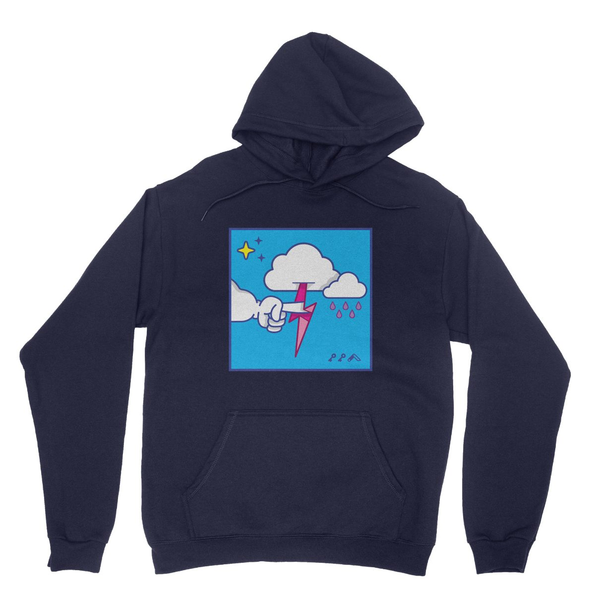 """""""MUTUAL CLOUDSENT"""" funny adult cartoon animation style hoodies in navy at kikicutt.com"""