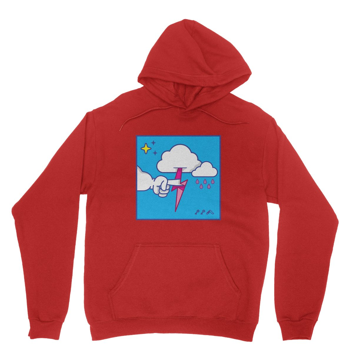 """""""MUTUAL CLOUDSENT"""" funny adult cartoon animation style hoodies in red at kikicutt.com"""