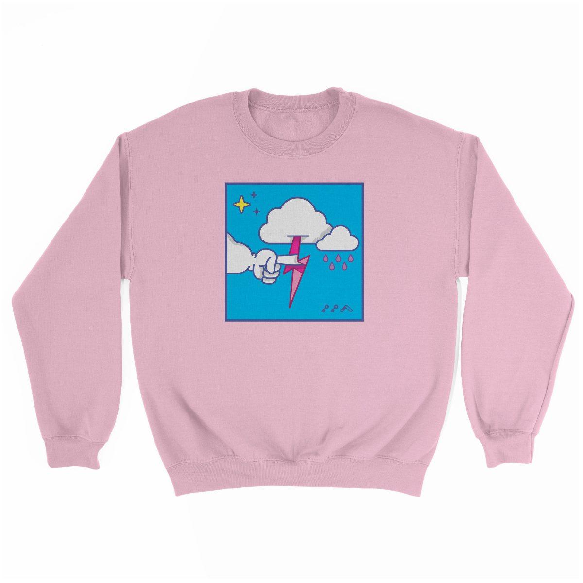 """MUTUAL CLOUDSENT"" funny adult cartoon animation style sweatshirt in light pink at kikicutt.com"