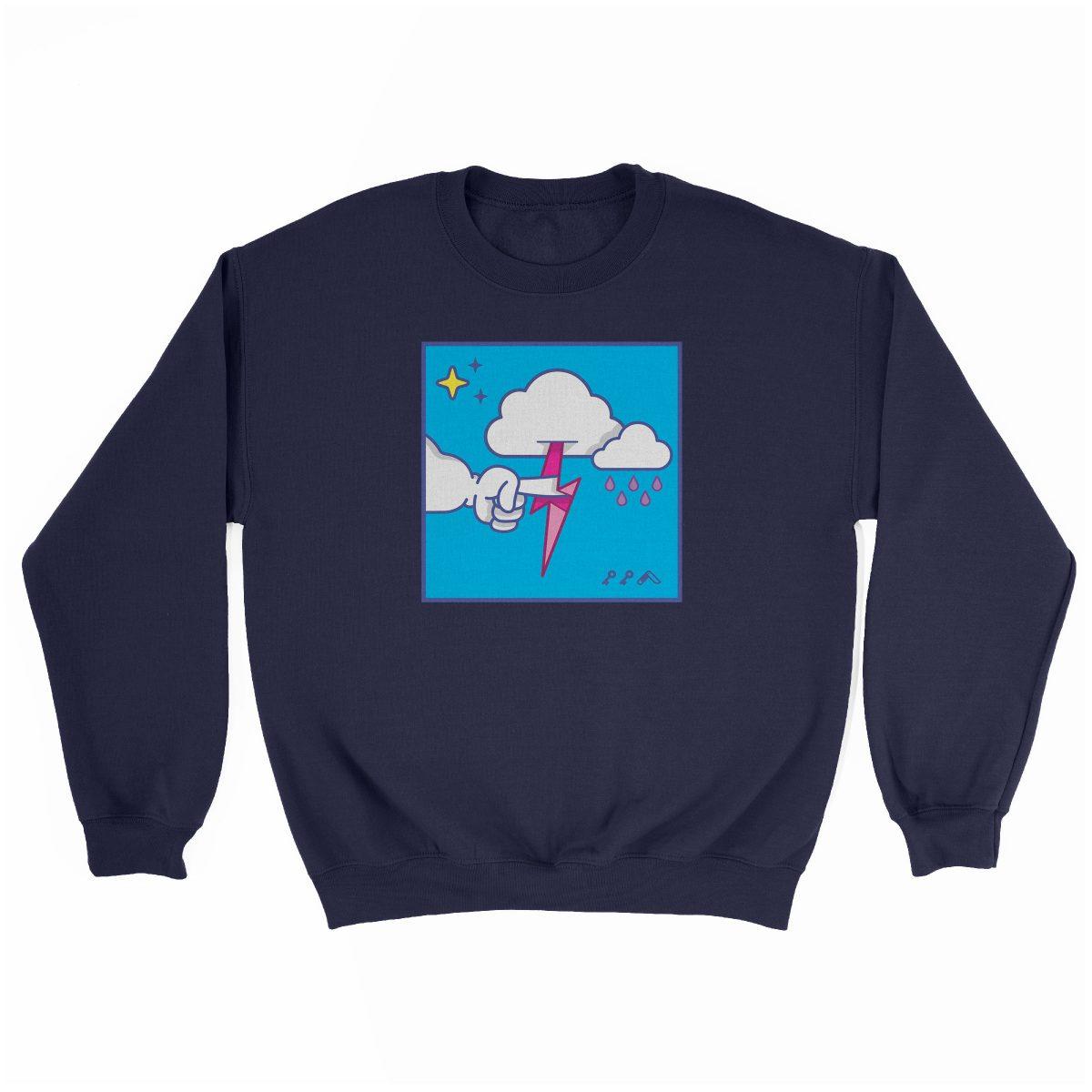 """MUTUAL CLOUDSENT"" funny adult cartoon animation style sweatshirt in navy at kikicutt.com"