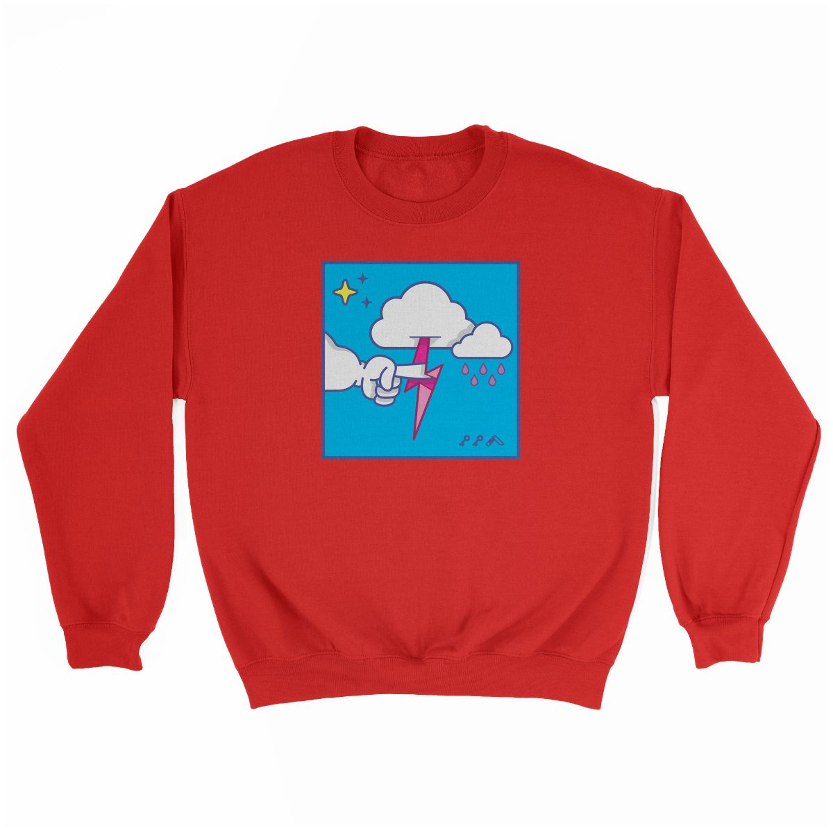 """""""MUTUAL CLOUDSENT"""" funny adult cartoon animation style sweatshirt in red at kikicutt.com"""