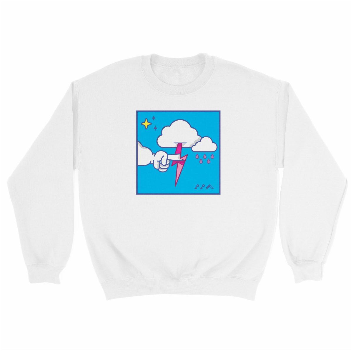 """MUTUAL CLOUDSENT"" funny adult cartoon animation style sweatshirt in white at kikicutt.com"
