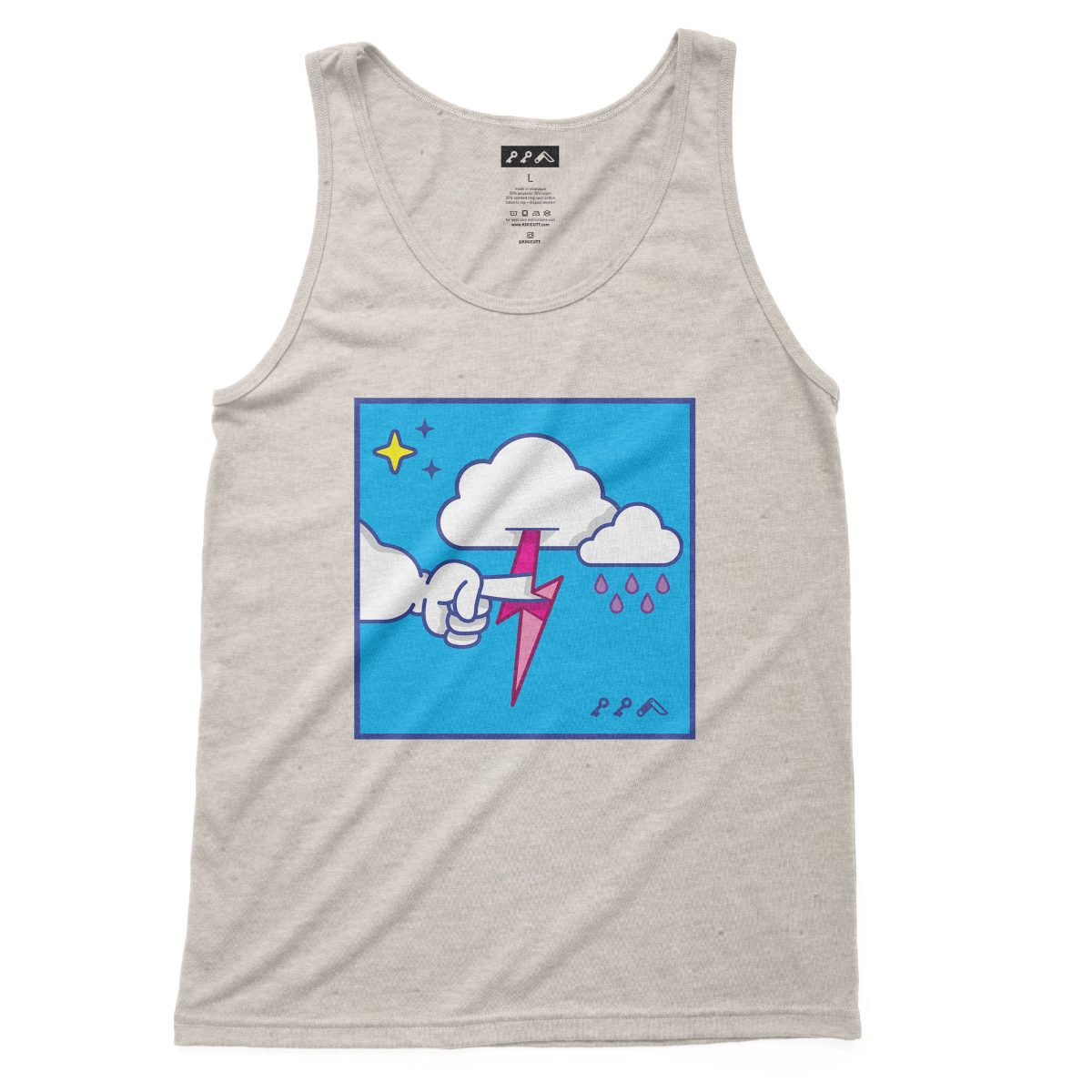"""""""MUTUAL CLOUDSENT"""" funny adult cartoon animation style tank top in oatmeal at kikicutt.com"""