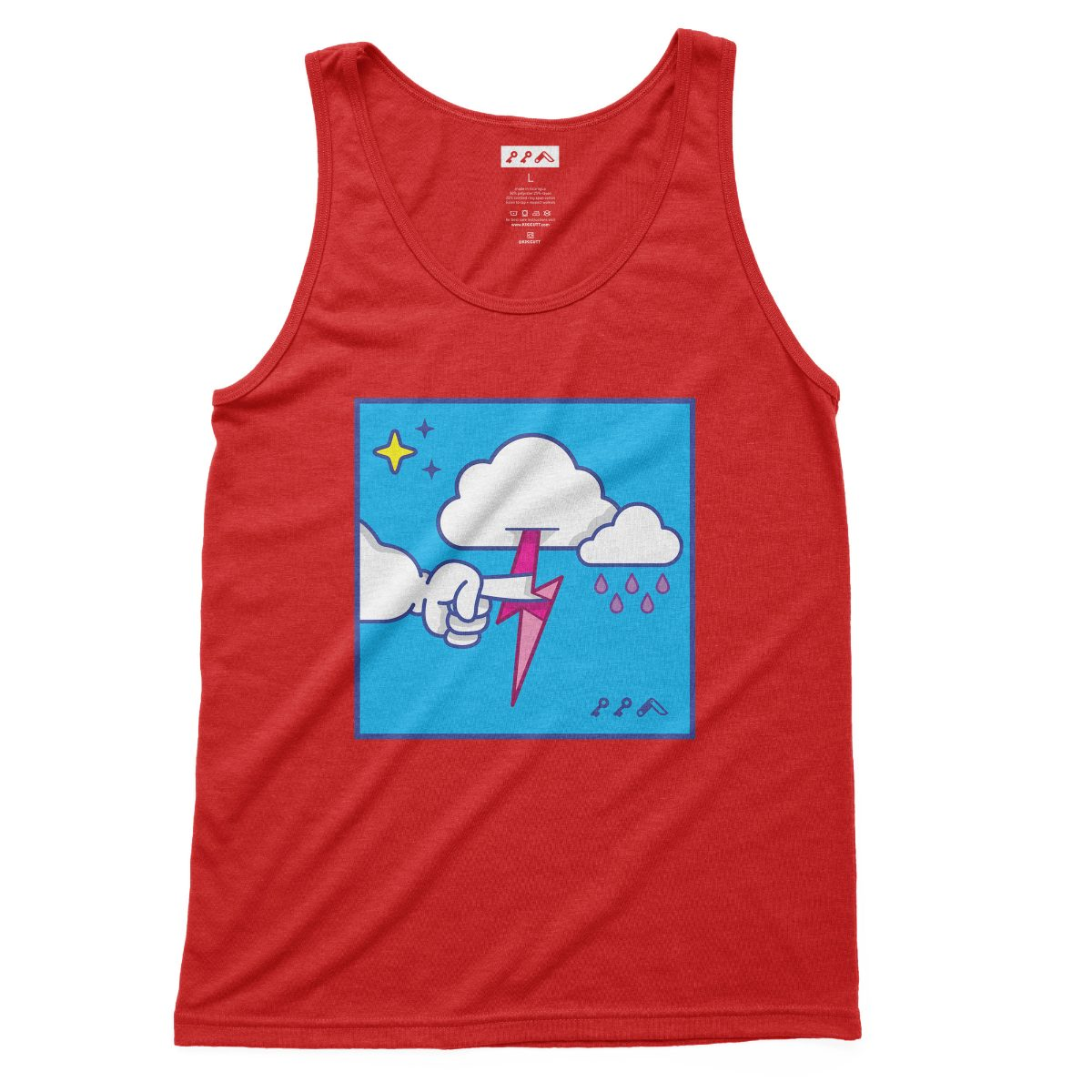 """""""MUTUAL CLOUDSENT"""" funny adult cartoon animation style tank top in red at kikicutt.com"""