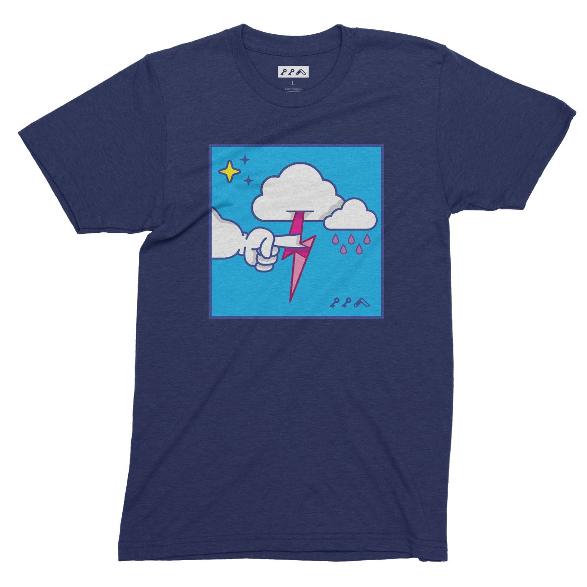 """""""MUTUAL CLOUDSENT"""" funny adult cartoon animation style tee in navy by kikicutt"""