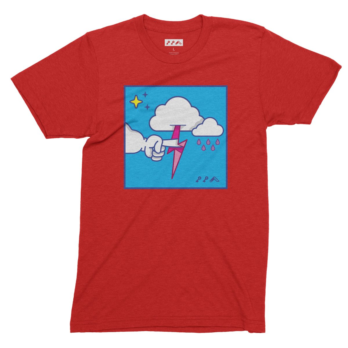 """""""MUTUAL CLOUDSENT"""" funny adult cartoon animation style tee in red by kikicutt"""
