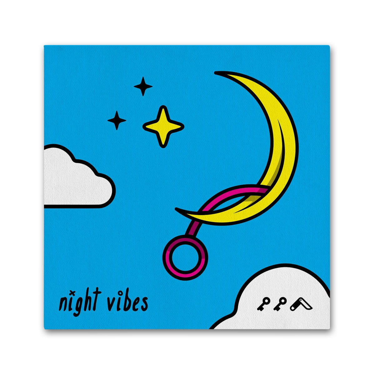"""NIGHT VIBES"" adult cartoon masturbating moon vibrator canvas prints"