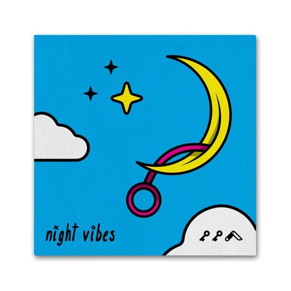 """NIGHT VIBES"" adult cartoon masturbating moon vibrator canvas prints"