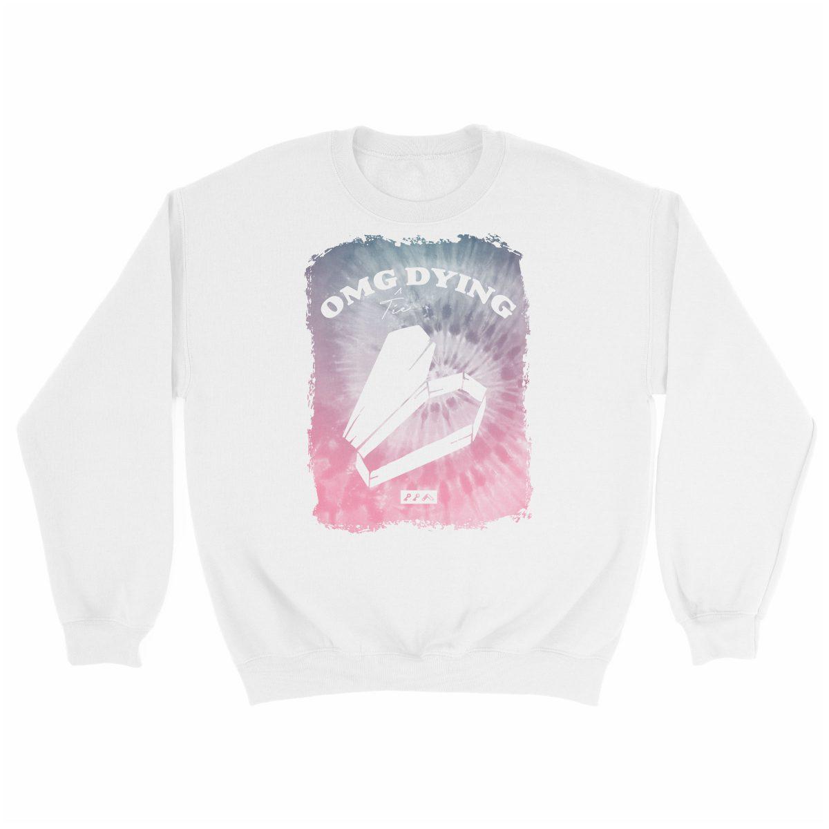 OMG DYING tie dye music festival sweatshirt in white