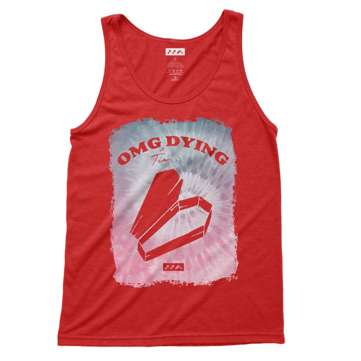 omg dying tie dye millenial quotes tank tops in red