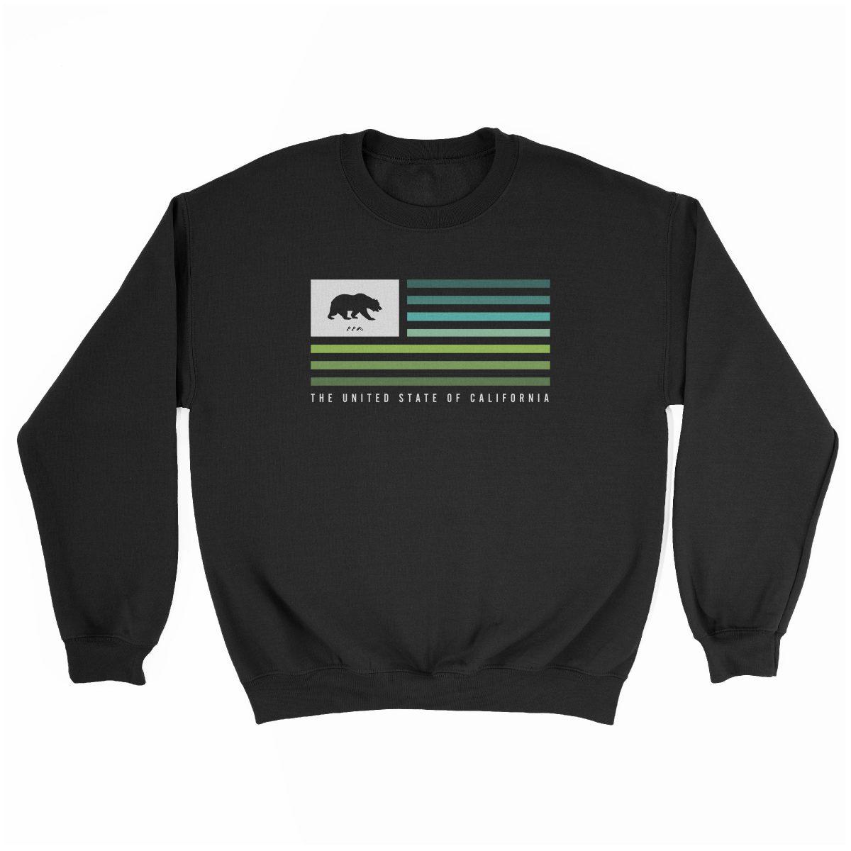 retro CALIFORNIA music festival cali summer beach sweatshirt in black