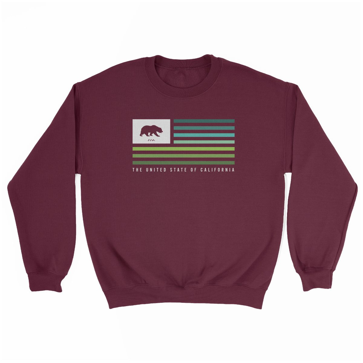 retro CALIFORNIA music festival cali summer beach sweatshirt in maroon