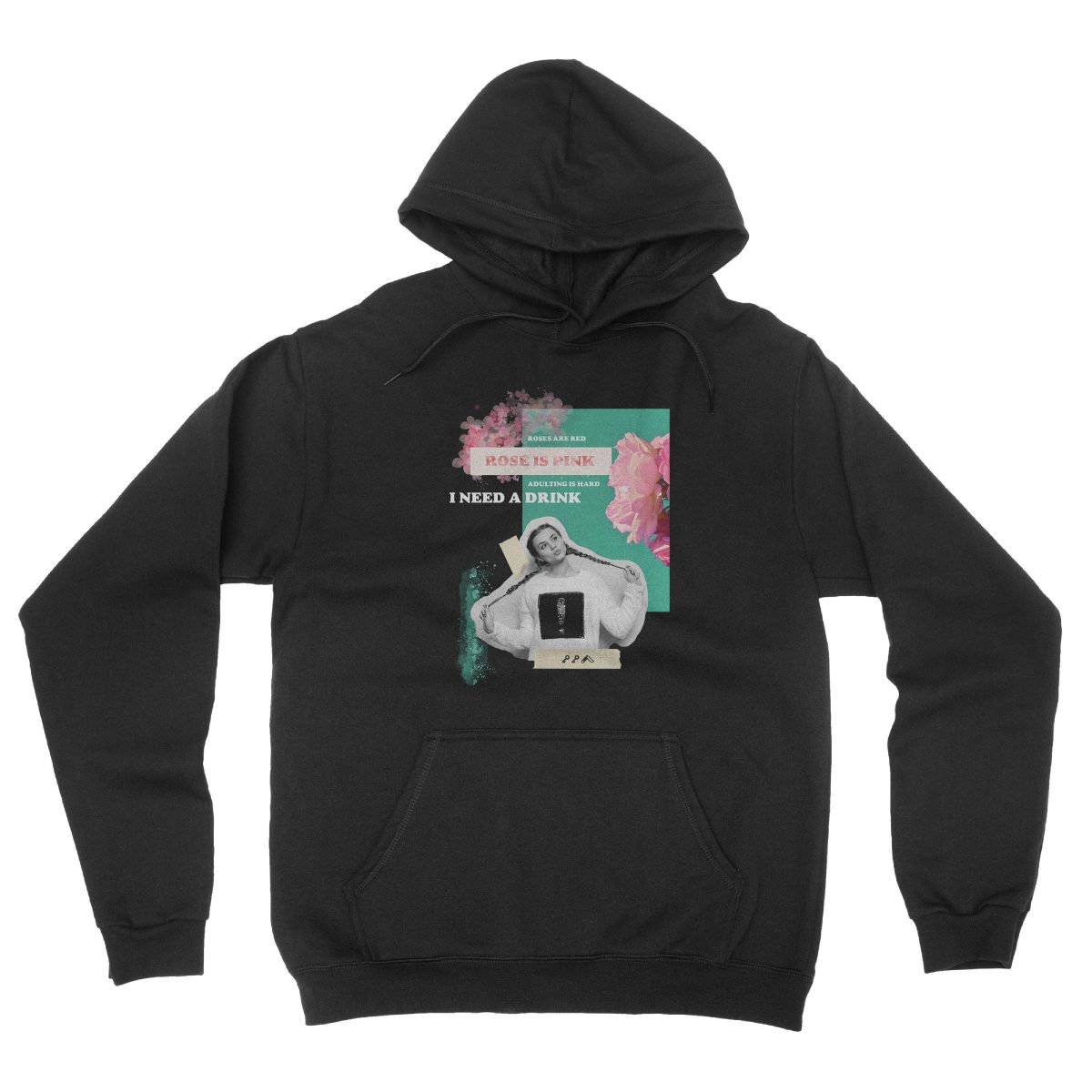 """""""rosé is pink"""" adulting is hard sunday funday hoodie in black"""