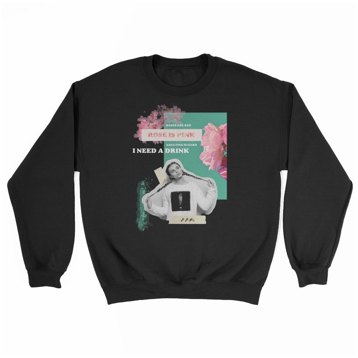 """rosé is pink"" adulting is hard sunday funday sweatshirt in black"