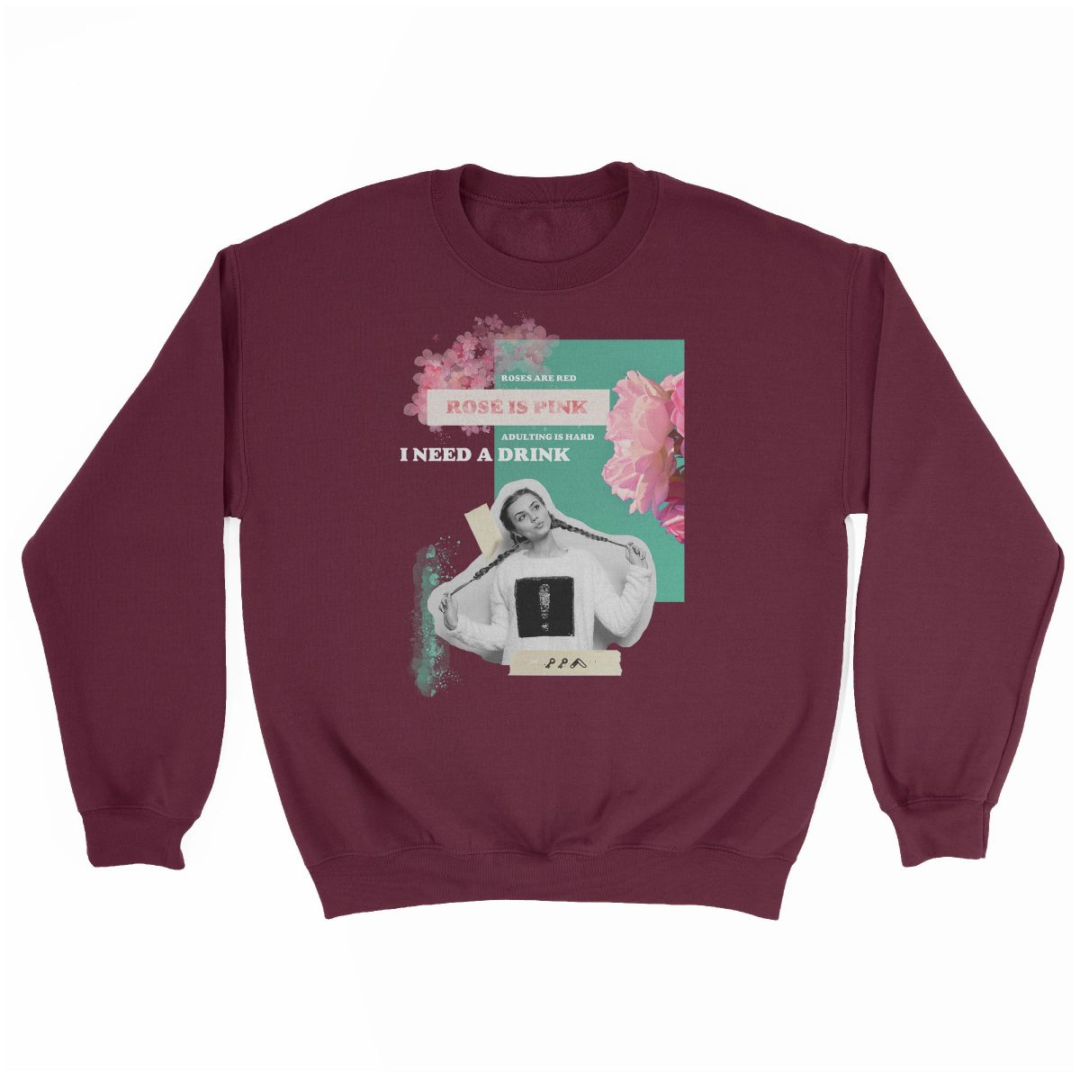"""rosé is pink"" adulting is hard sunday funday sweatshirt in maroon"
