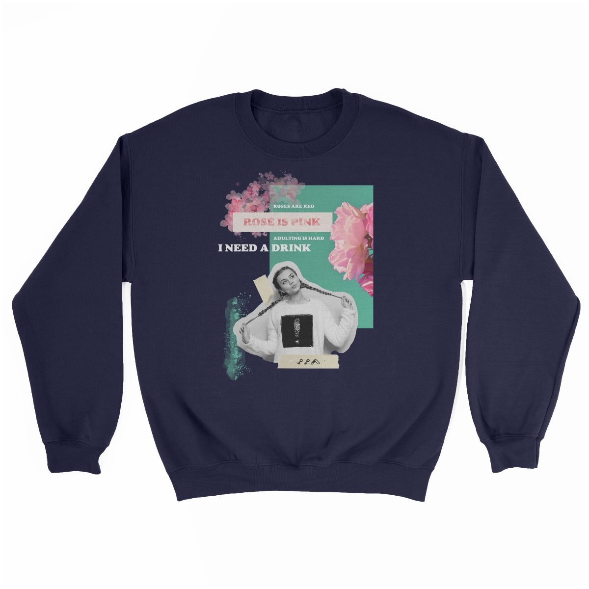 """rosé is pink"" adulting is hard sunday funday sweatshirt in navy"
