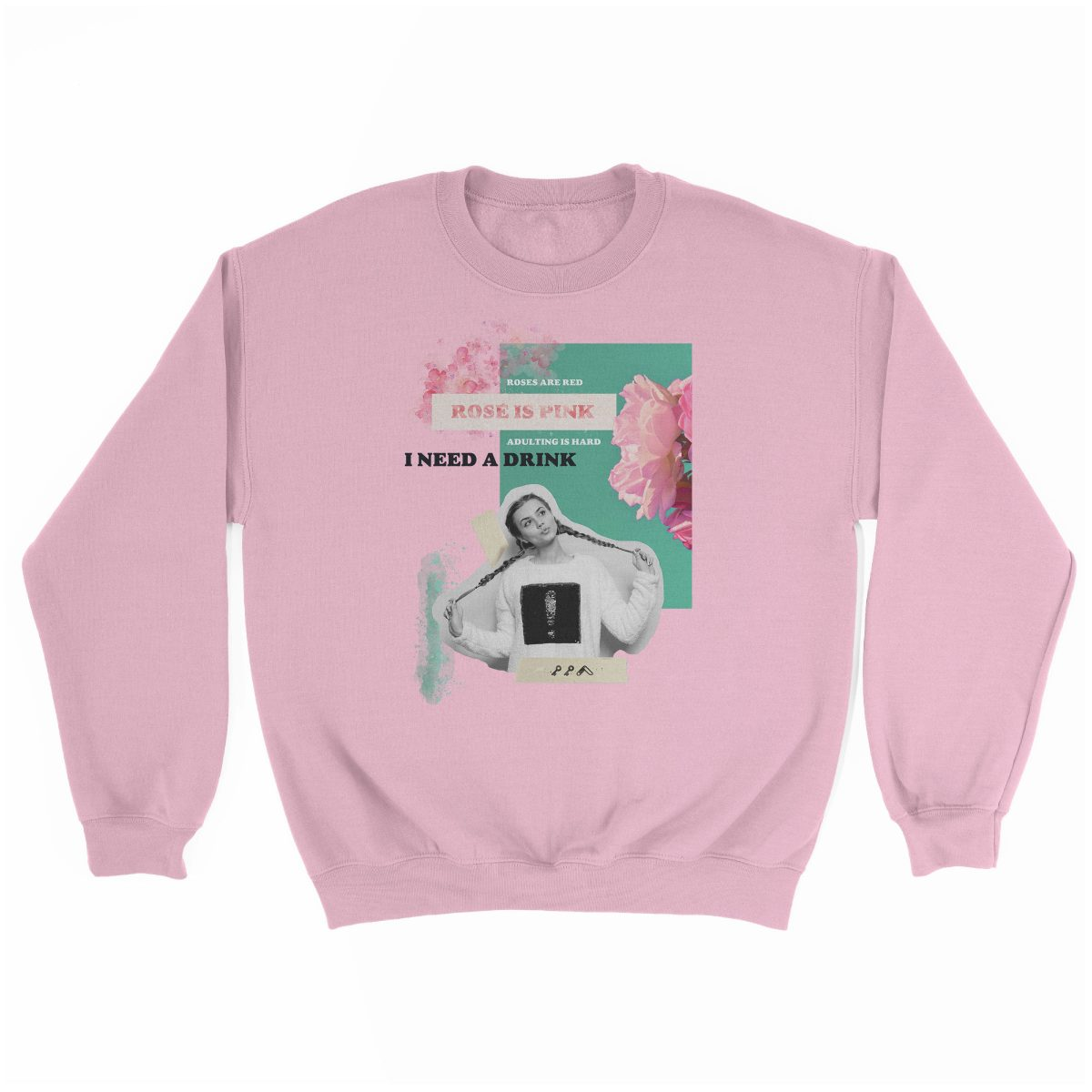 """rosé is pink"" adulting is hard sunday funday sweatshirt in pink"