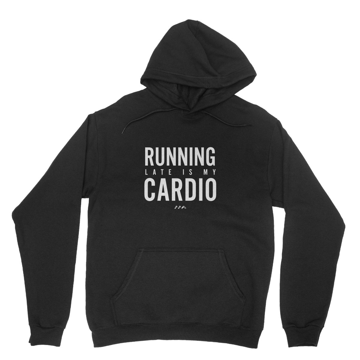 RUNNING LATE IS MY CARDIO funny workout hoodies in black by kikicutt