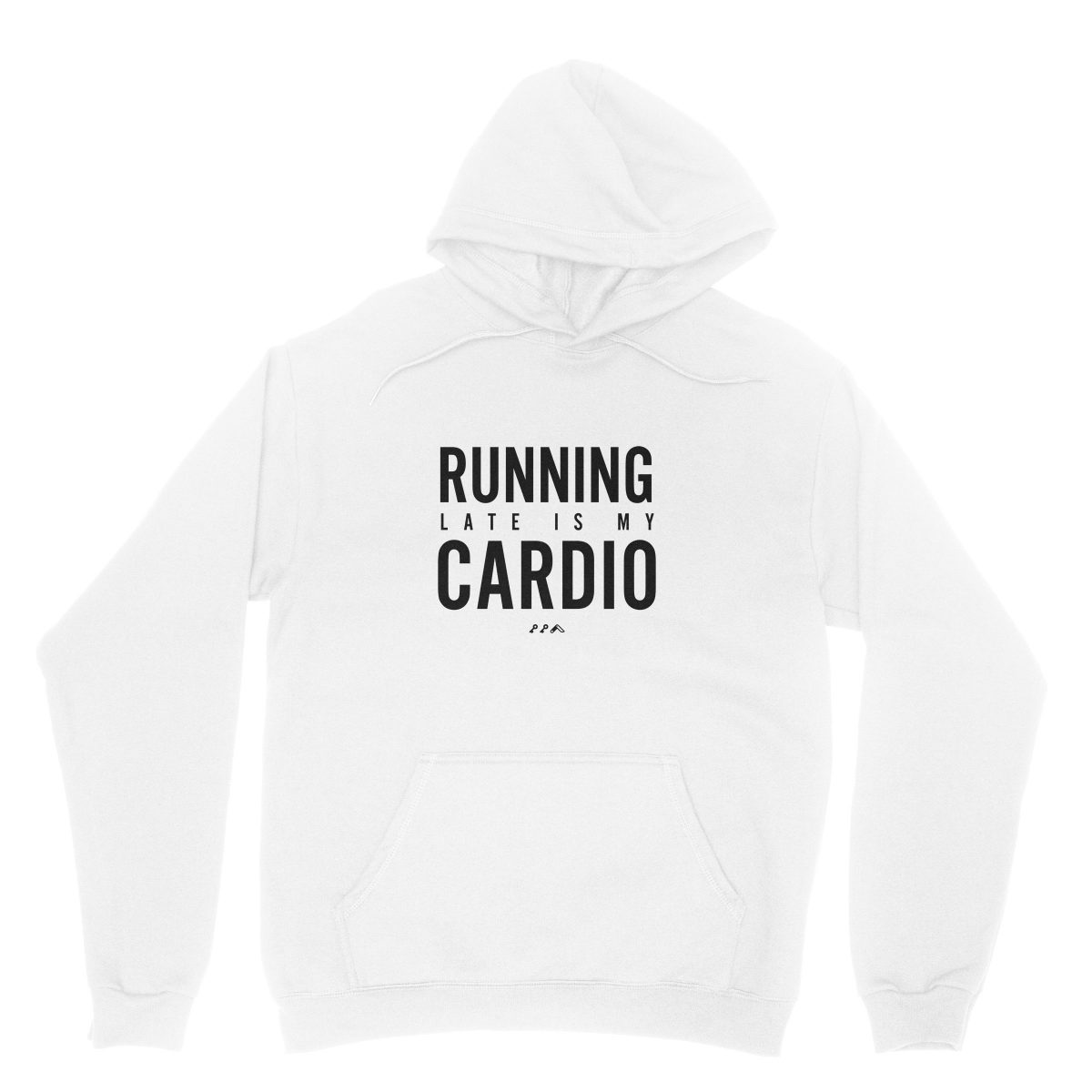 RUNNING LATE IS MY CARDIO funny workout hoodies in white by kikicutt