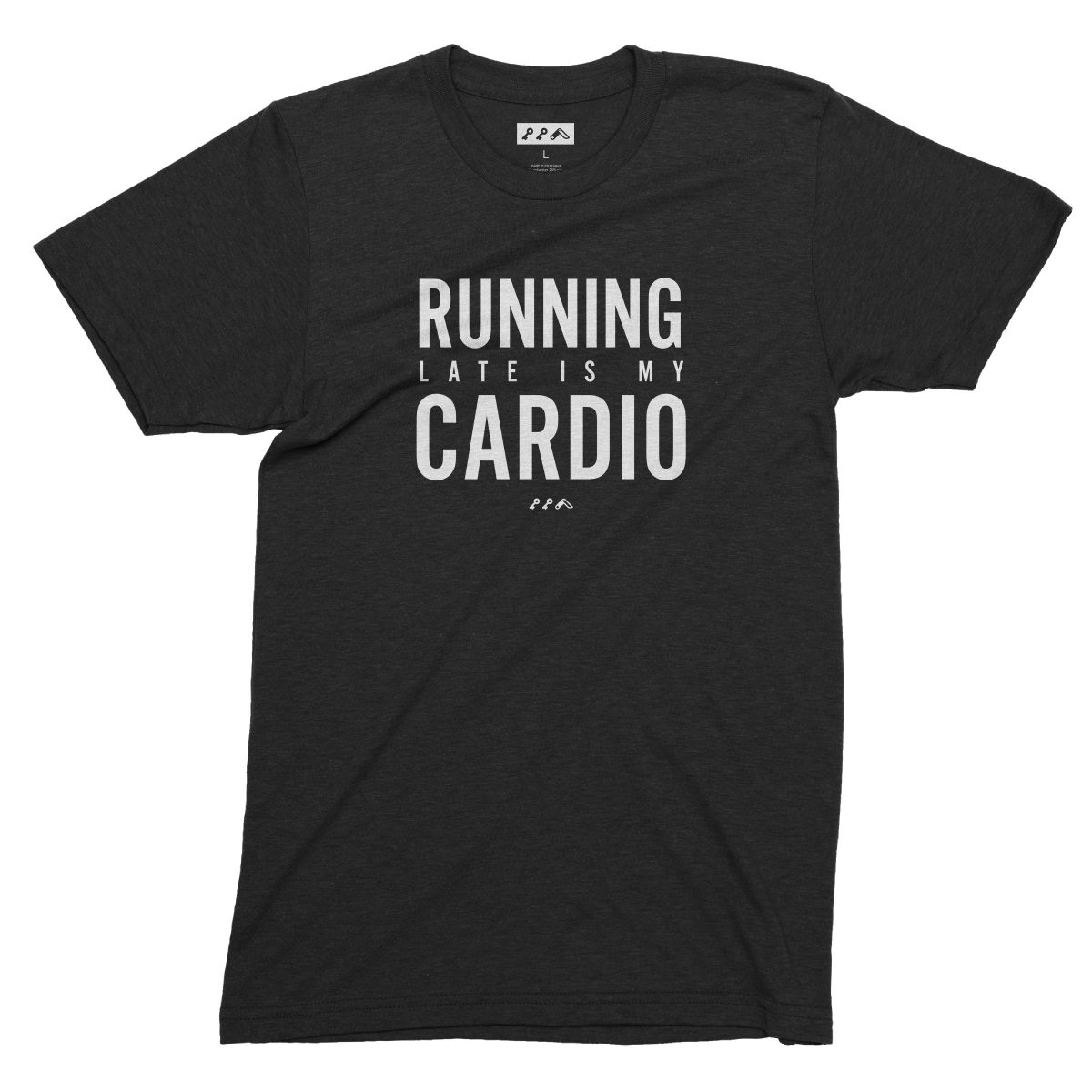 RUNNING LATE IS MY CARDIO funny workout t-shirts in black by kikicutt