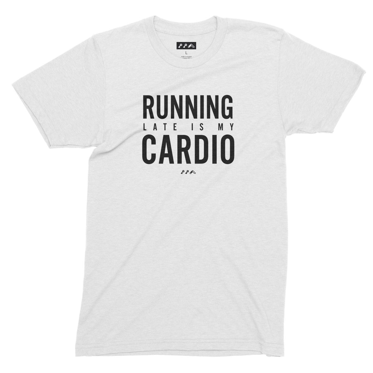 RUNNING LATE IS MY CARDIO funny workout t-shirts in white by kikicutt