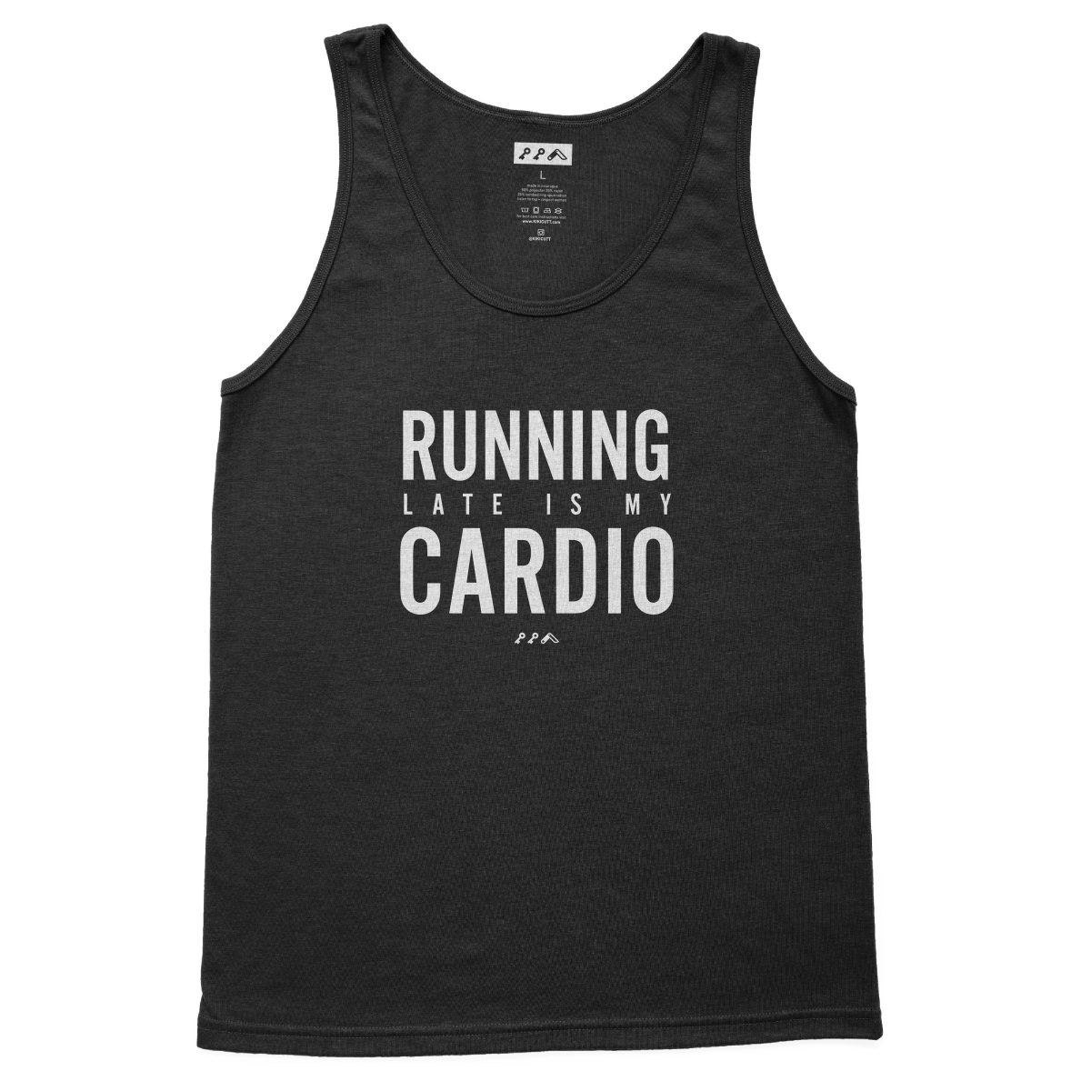 RUNNING LATE IS MY CARDIO funny exercise tank tops in black at kikicutt.com