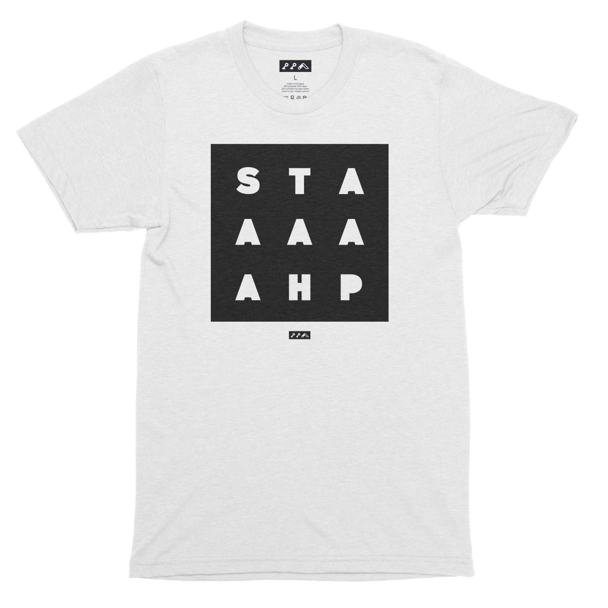 """""""STAAAAAHP"""" funny jersey slang unisex t-shirt in white"""