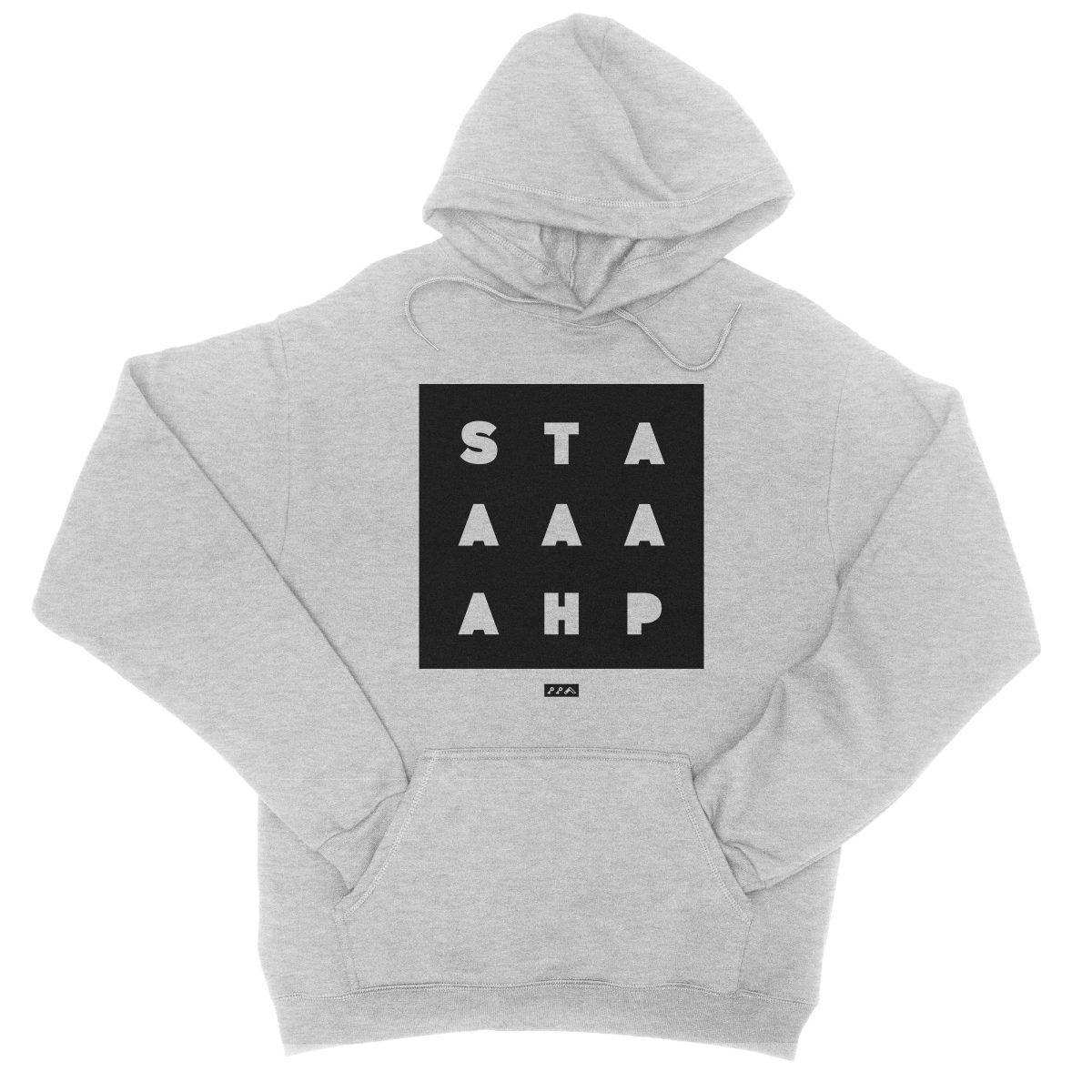 """""""STAAAAAHP"""" funny philly slang hoodie sweatshirt in grey"""