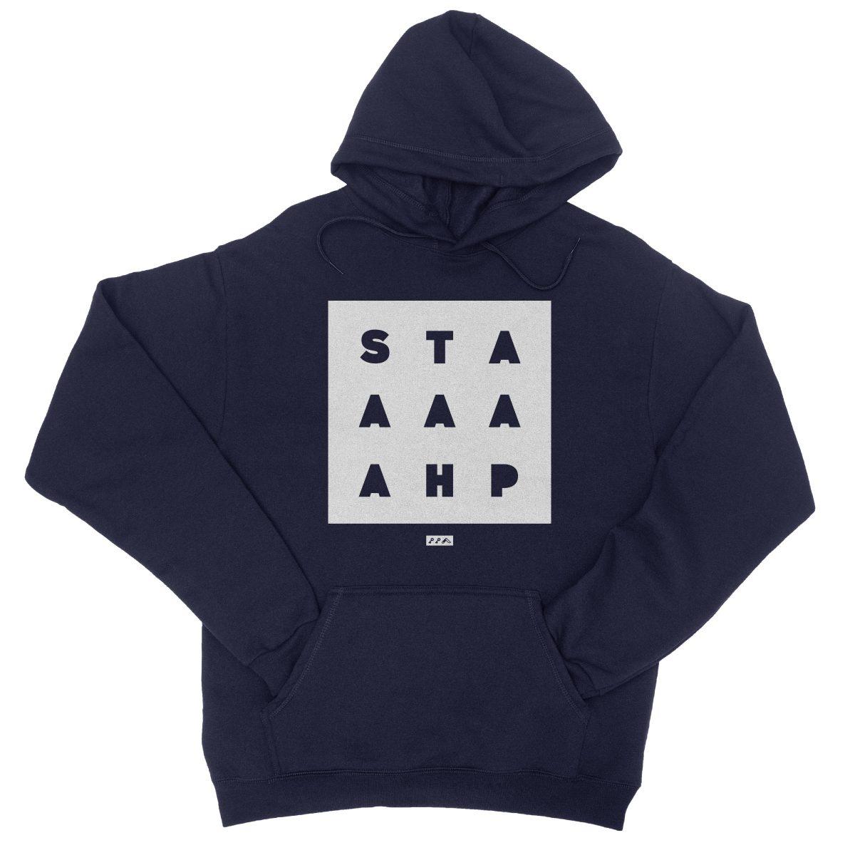 """""""STAAAAAHP"""" funny philly slang hoodie sweatshirt in navy"""
