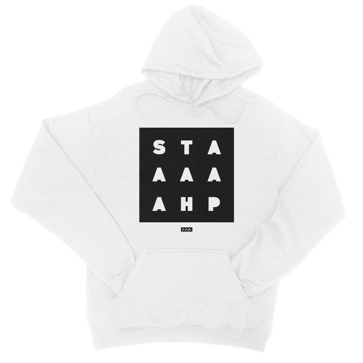 """""""STAAAAAHP"""" funny philly slang hoodie sweatshirt in white"""