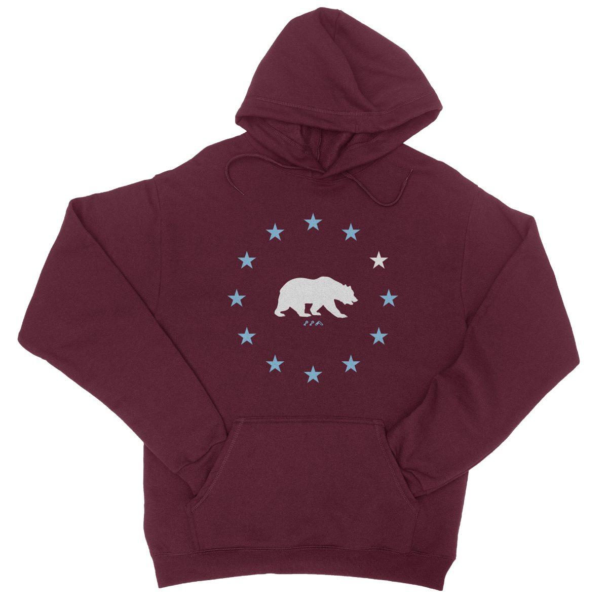 STAR GAZING california republic cali bear hoodie in maroon by kikicutt