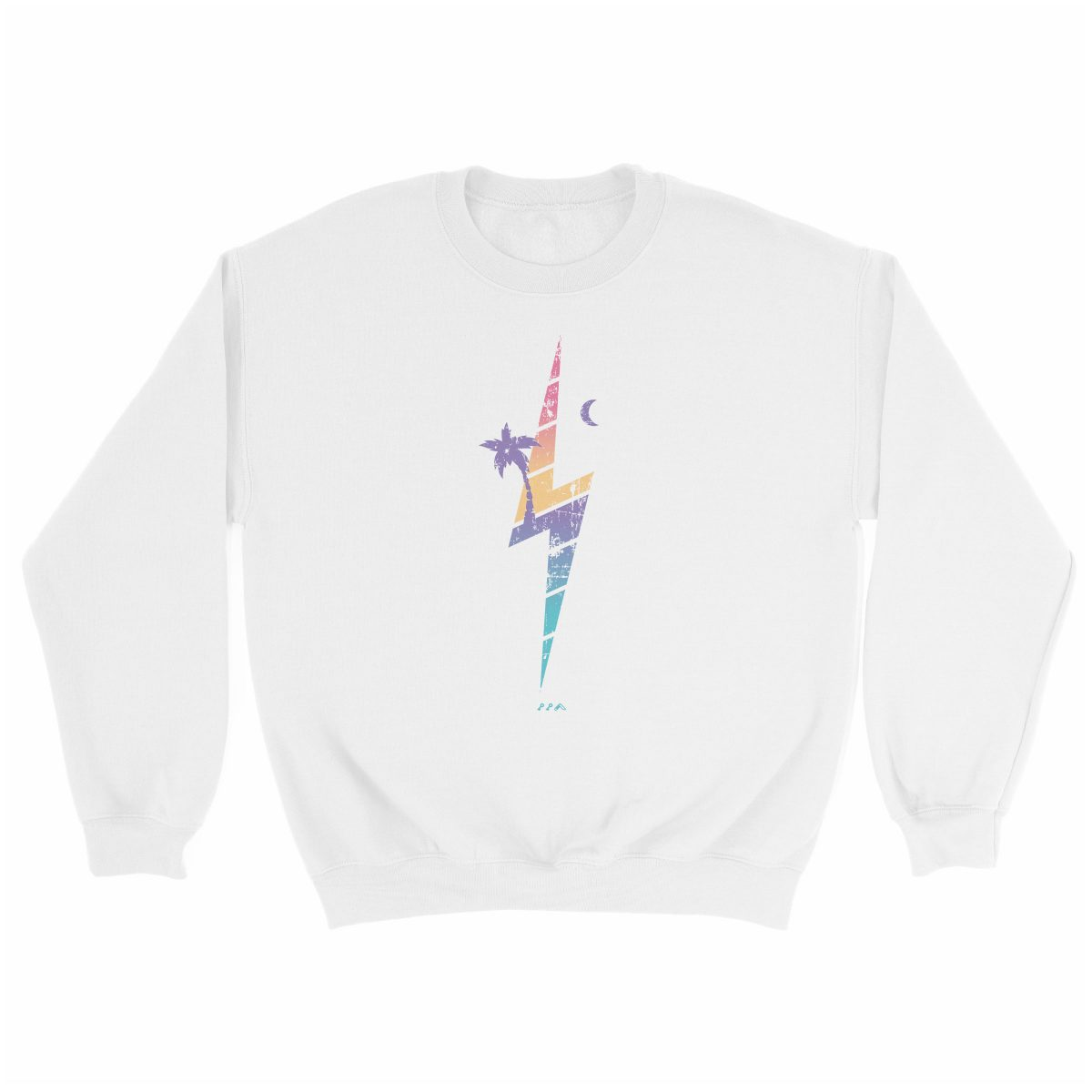 TROPIC THUNDER music festival soft beach sweatshirt in white at kikicutt.com
