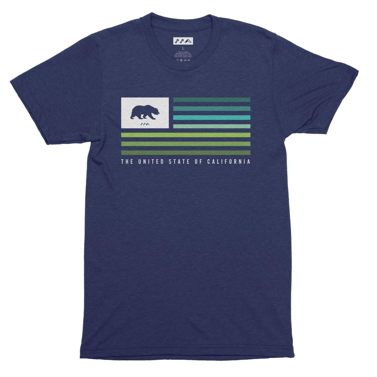 UNITED STATE OF CALIFORNIA music festival summer beach tshirt in navy