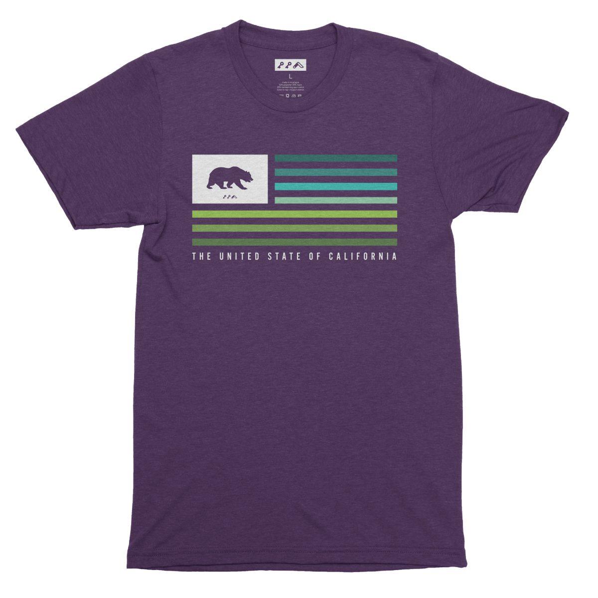 UNITED STATE OF CALIFORNIA music festival summer beach tshirt in purple