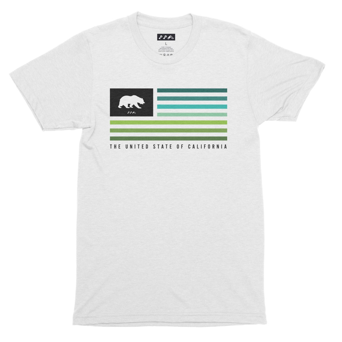 UNITED STATE OF CALIFORNIA music festival summer beach tshirt in white fleck