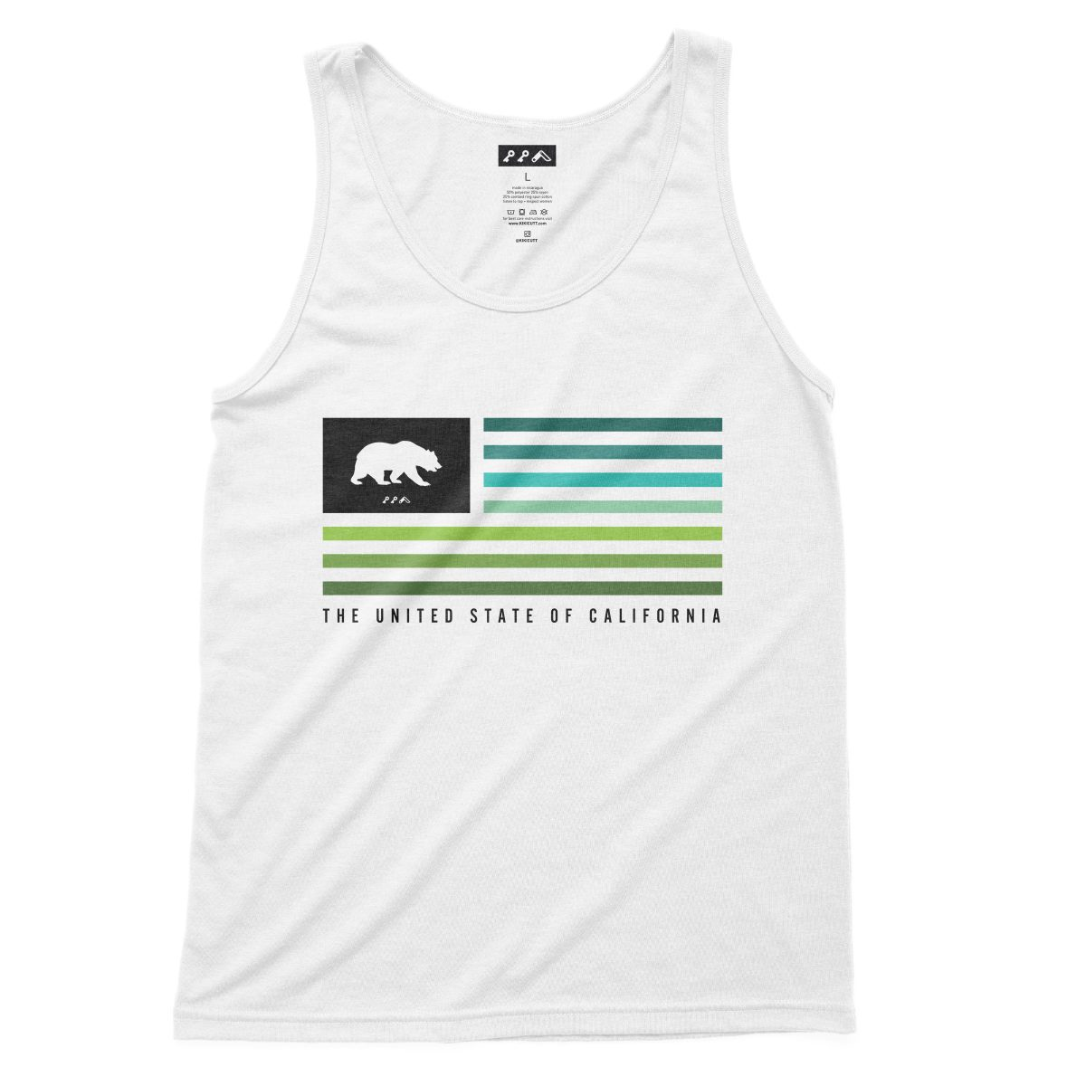 UNITED STATE OF CALIFORNIA equal rights cali beach tank tops in white
