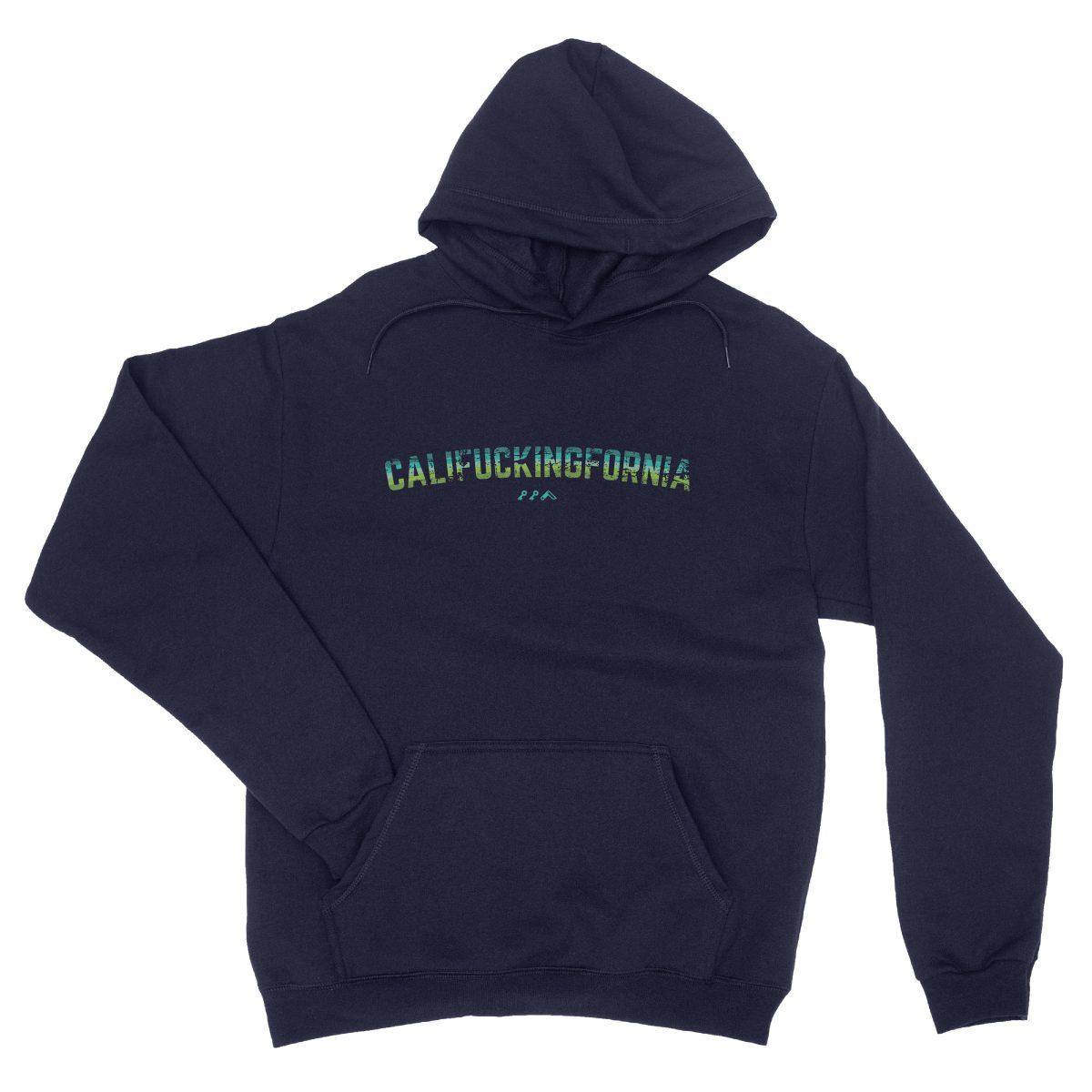 califuckingfornia 90s design retro hoodie in navy blue by kikicutt sweatshirt store