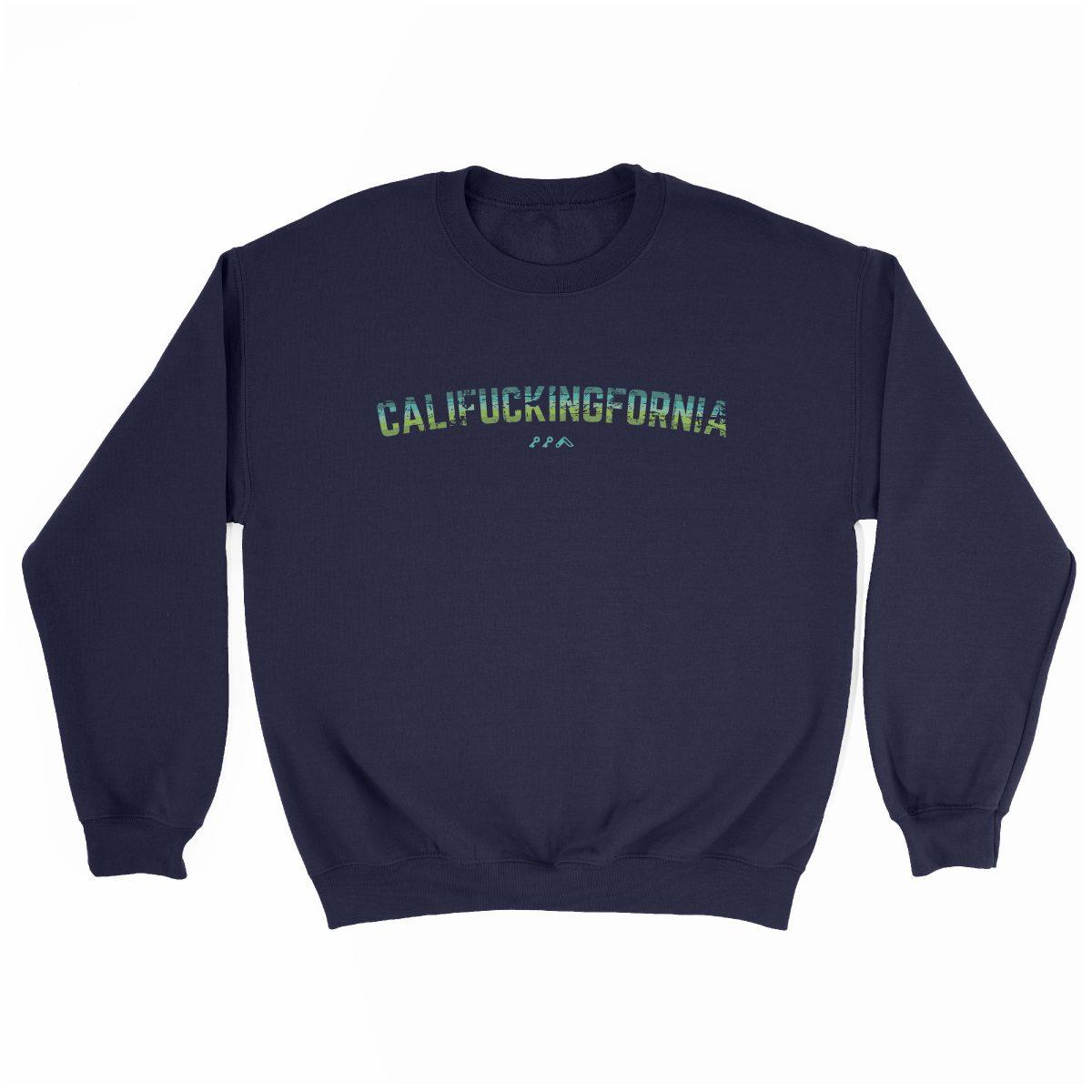 califuckingfornia 90s design retro sweatshirt in navy blue by kikicutt sweatshirt store