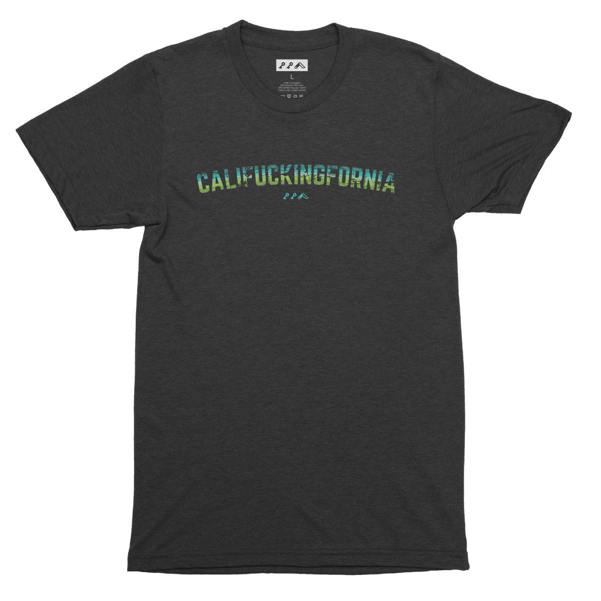 califuckingfornia 90s design retro tee in charcoal black by kikicutt t-shirt store