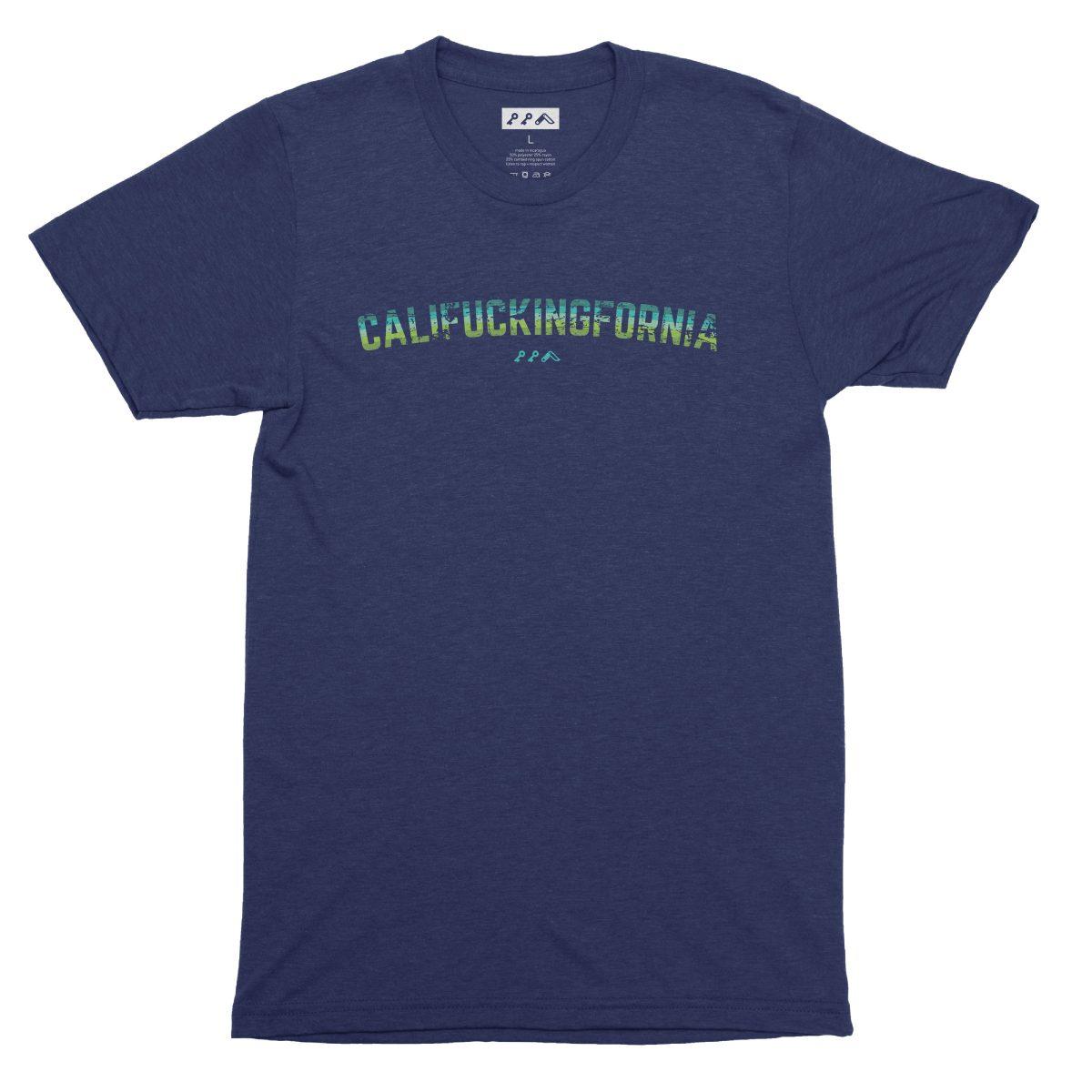 califuckingfornia 90s design retro tee in navy blue by kikicutt t-shirt store