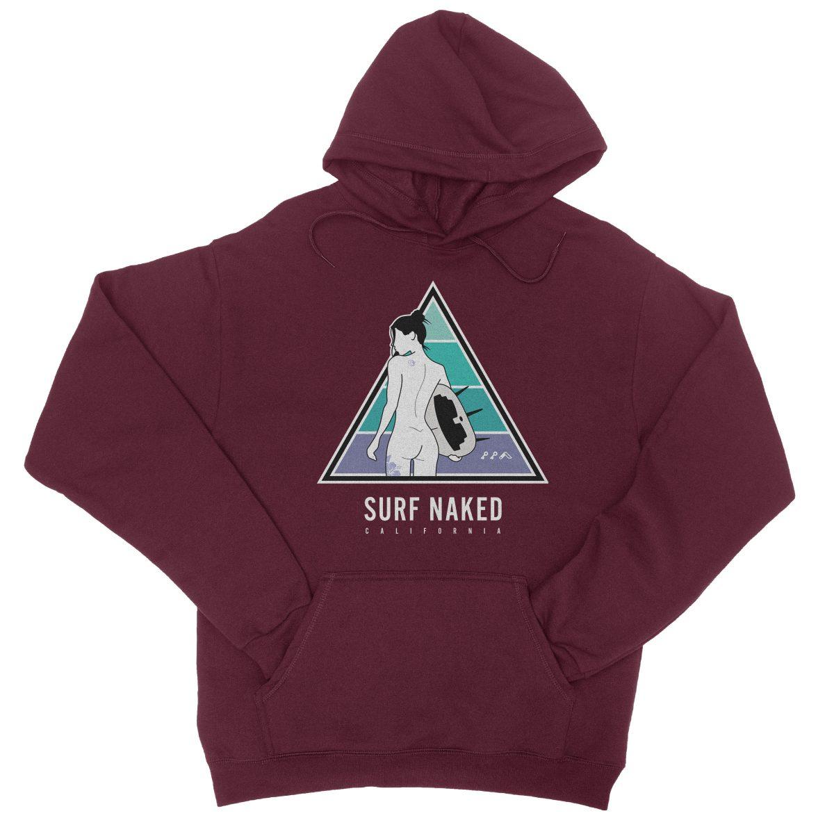 SURF NAKED CALIFORNIA beaches hoodie in maroon by kikicutt sweatshirt store