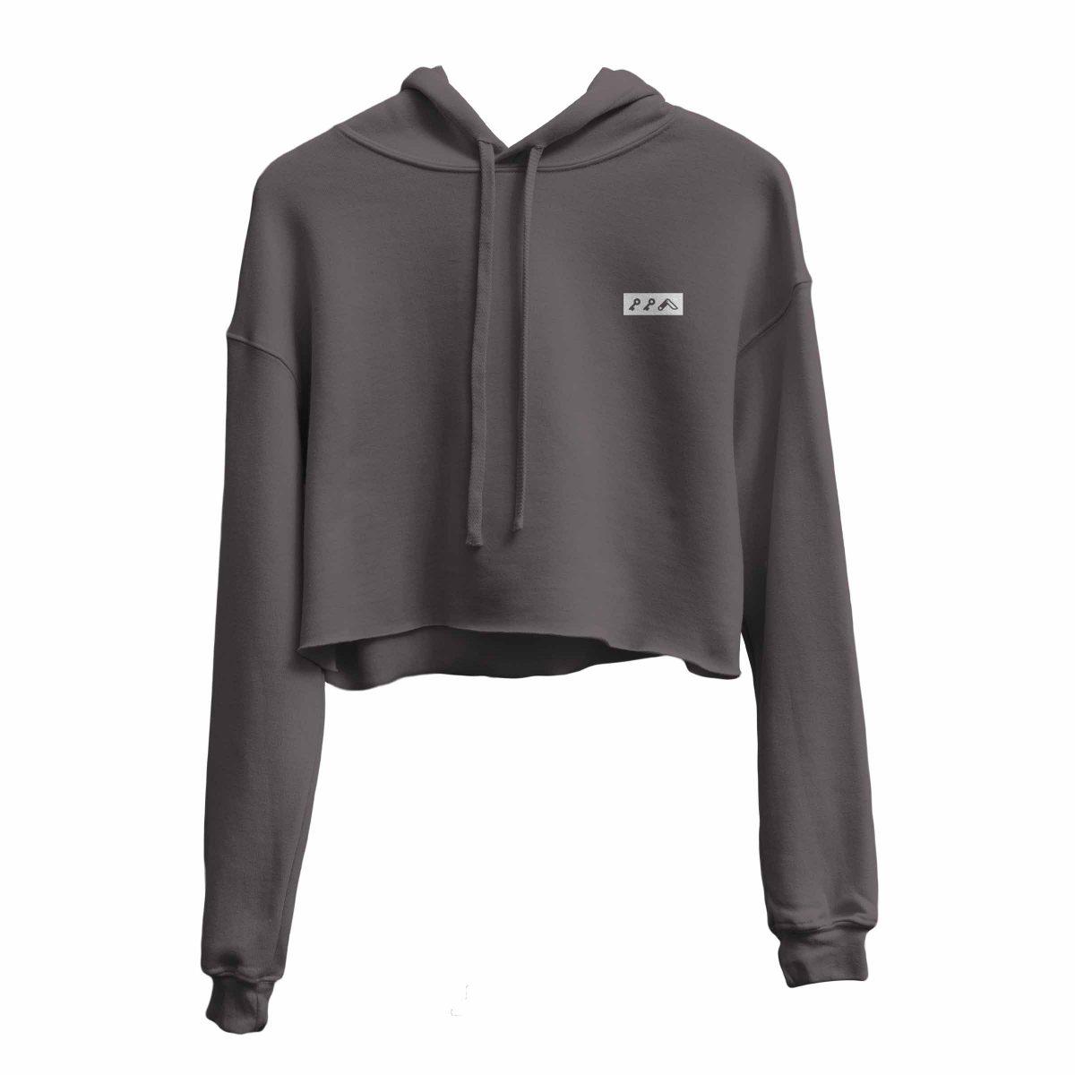 kikicutt icon grey crop hoodie