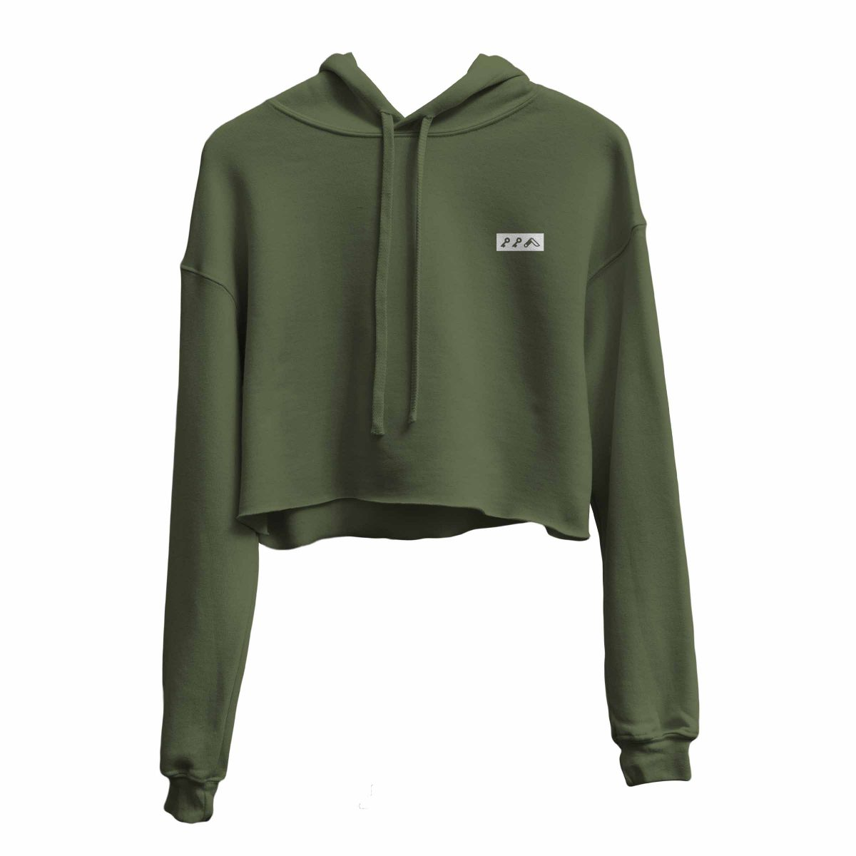 kikicutt icon military green crop hoodie