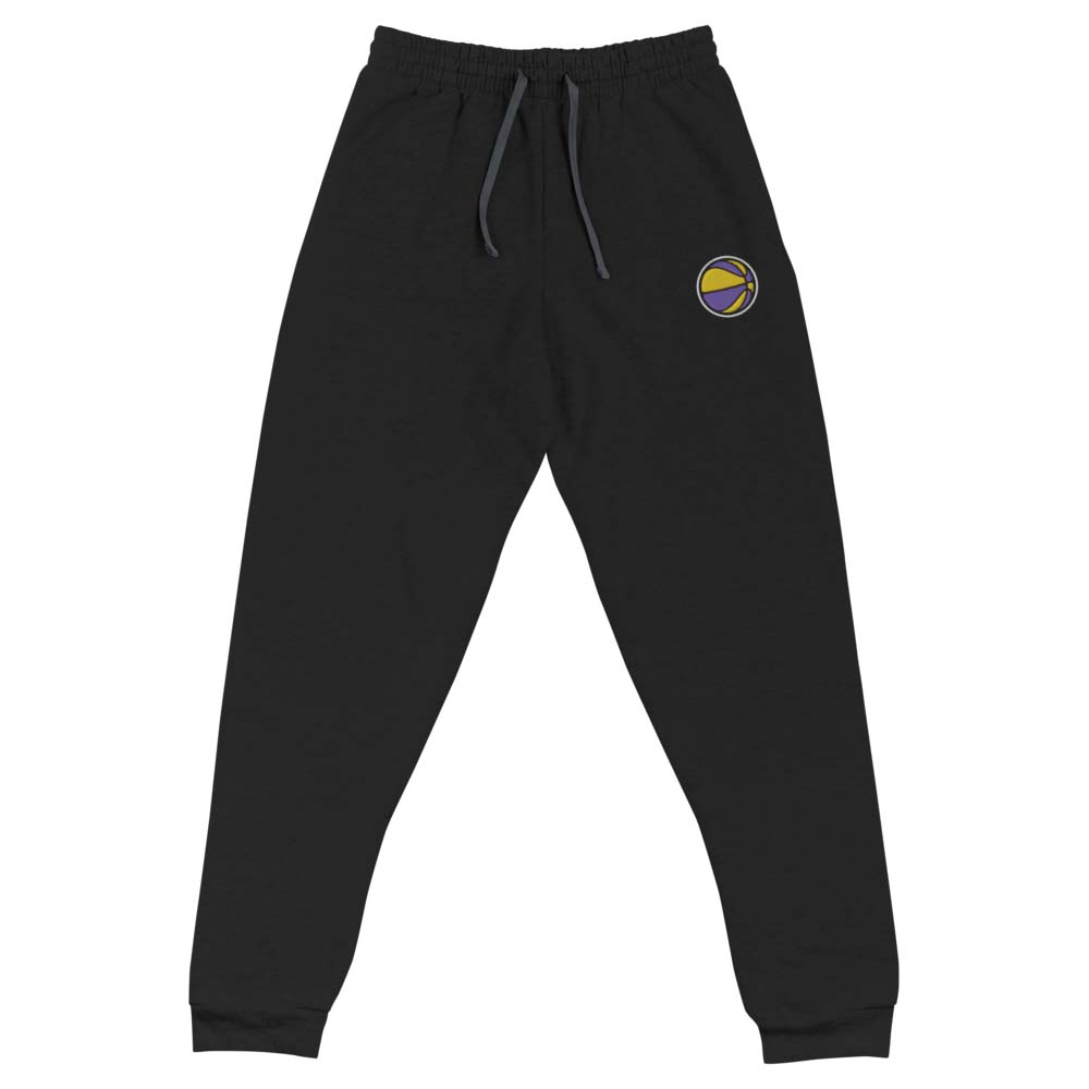 purple and gold BASKETBALL embroidered joggers by kikicutt sweatpants store