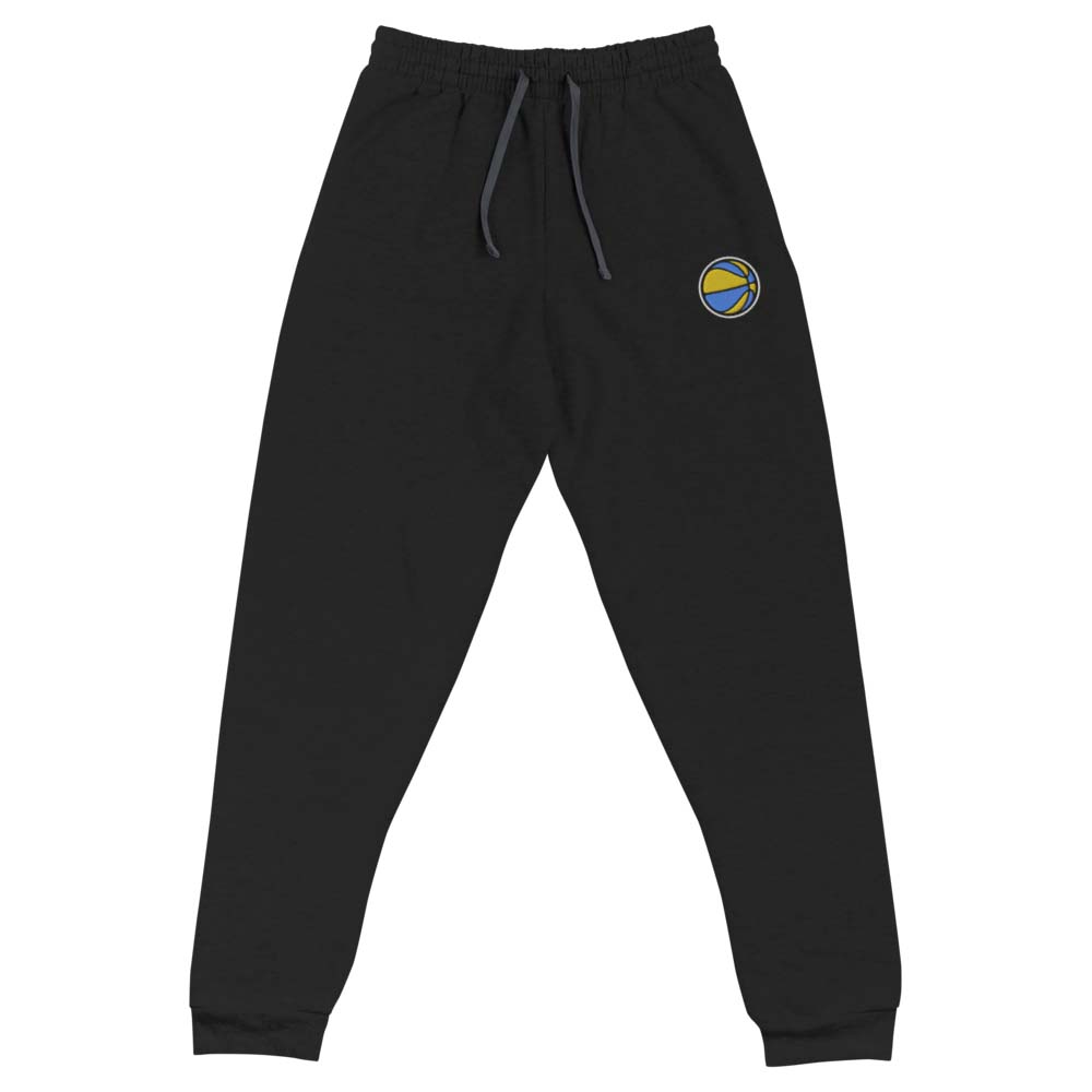 blue and gold BASKETBALL embroidered joggers by kikicutt sweatpants store