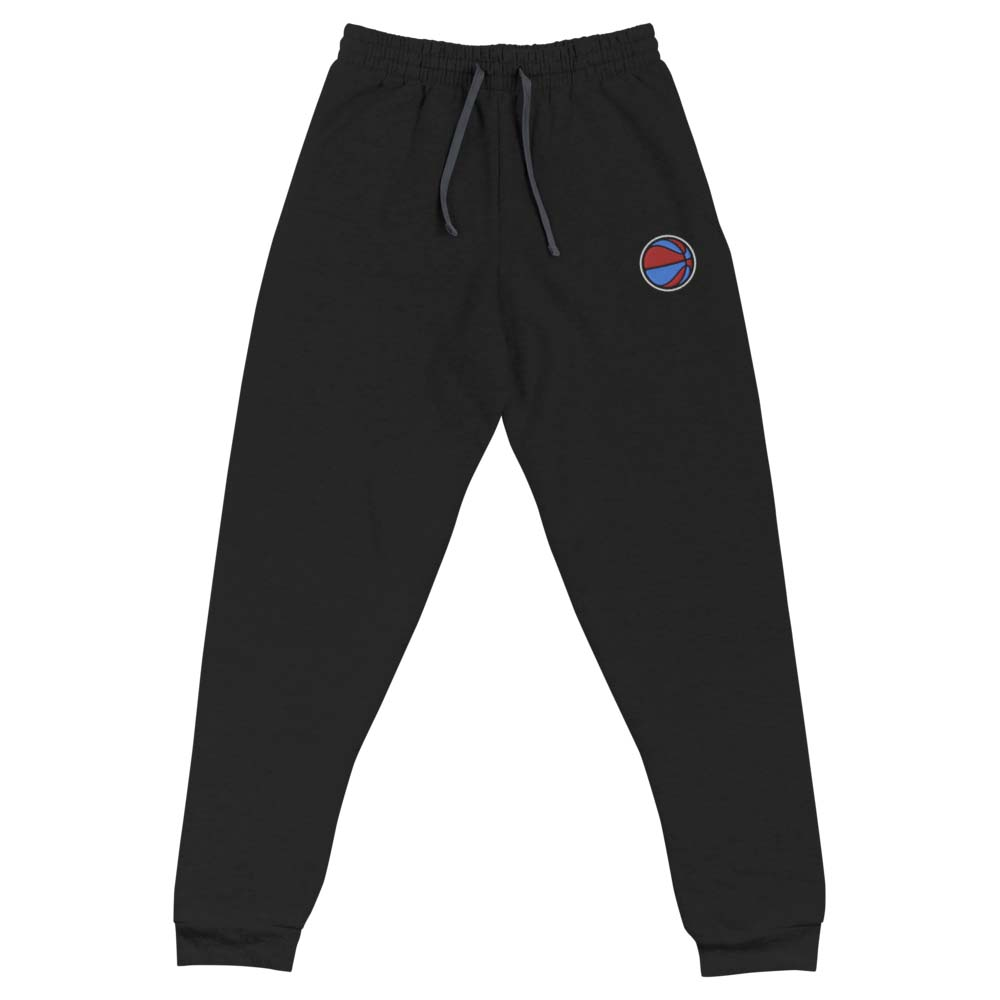 blue and red BASKETBALL embroidered joggers by kikicutt sweatpants store
