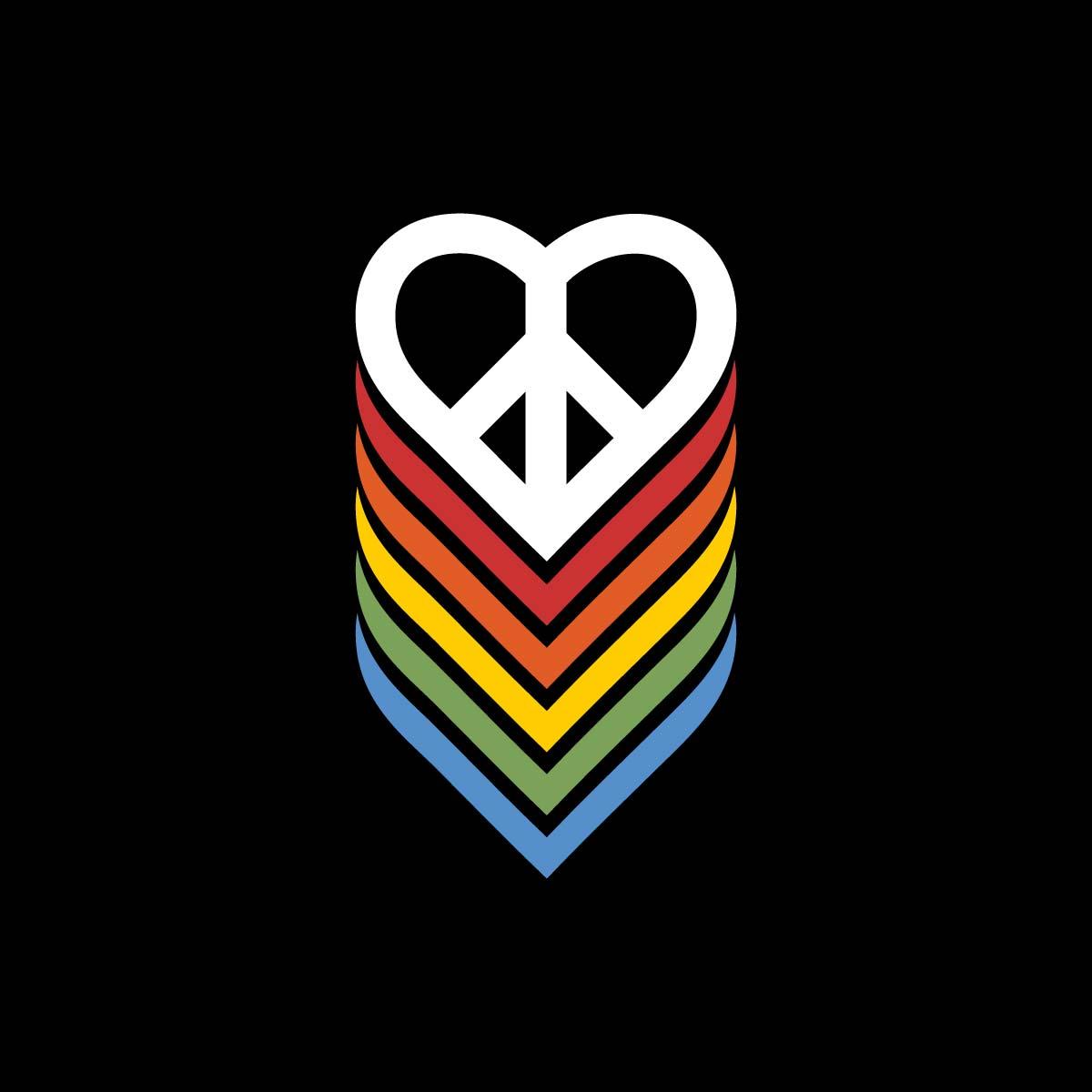 PEACE AND LOVE RAINBOW HEART design by kikicutt sweatpants store
